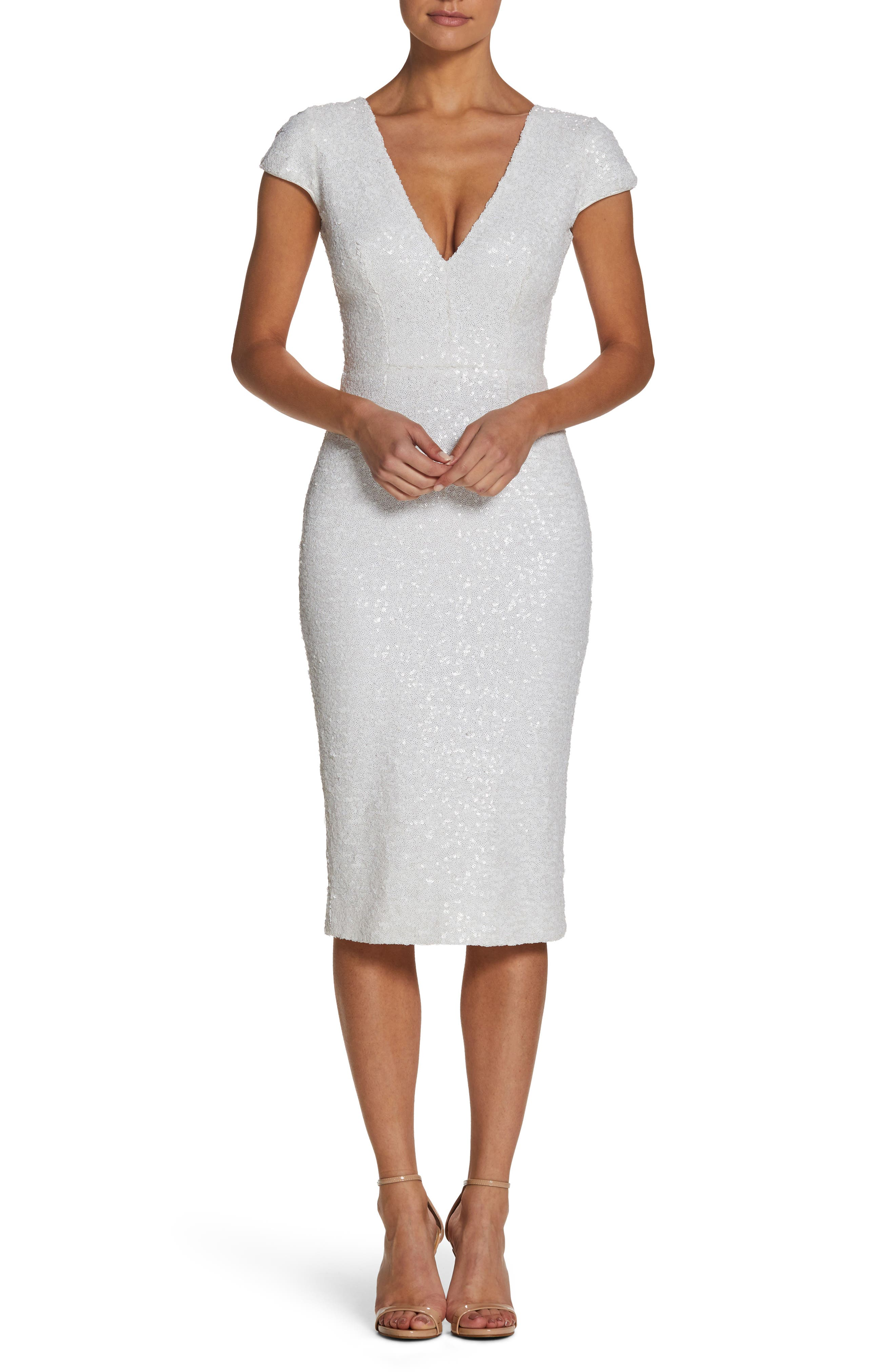 Allison Sequin Sheath Dress,                         Main,                         color, White