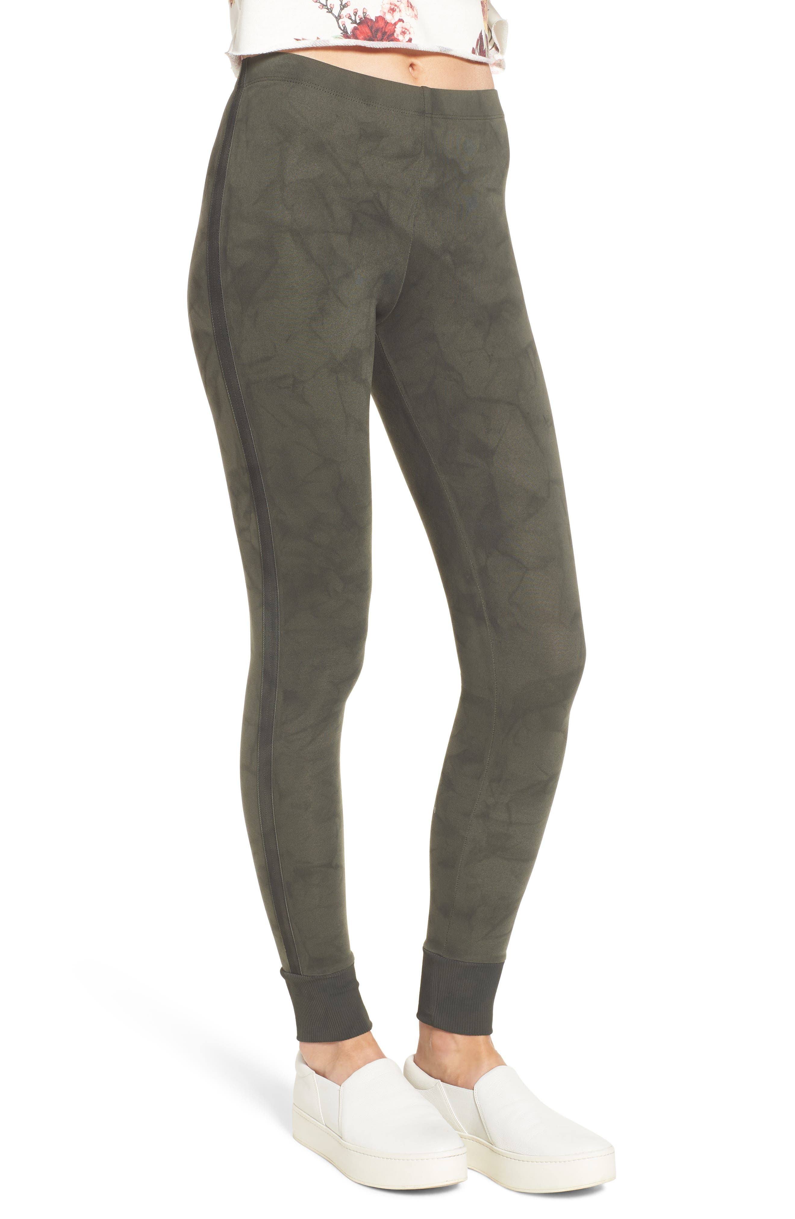 Kiely Ribbed Cuff Leggings,                             Alternate thumbnail 3, color,                             Army Green