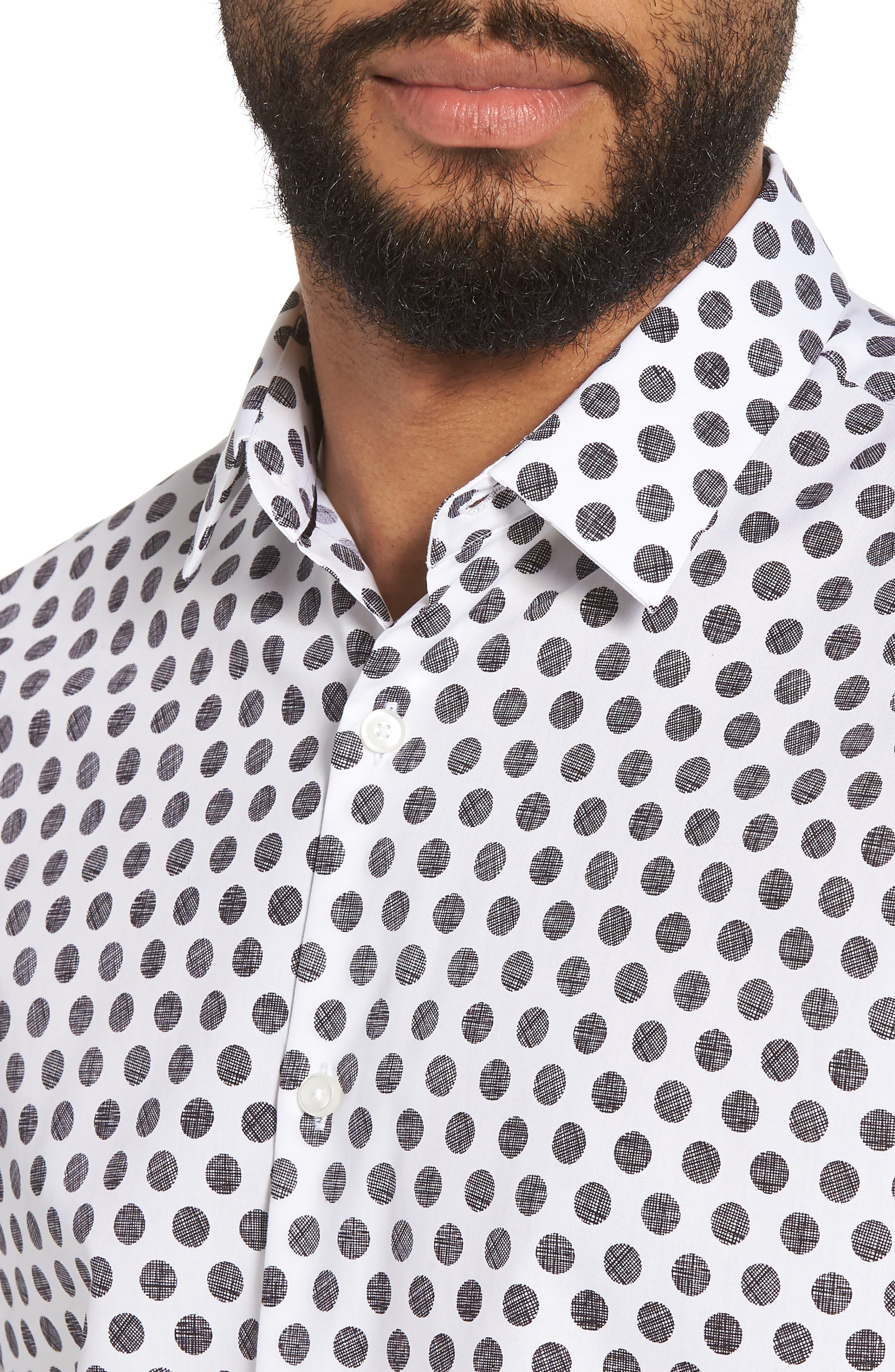 Dot Sport Shirt,                             Alternate thumbnail 2, color,                             White Black Hatch Dot