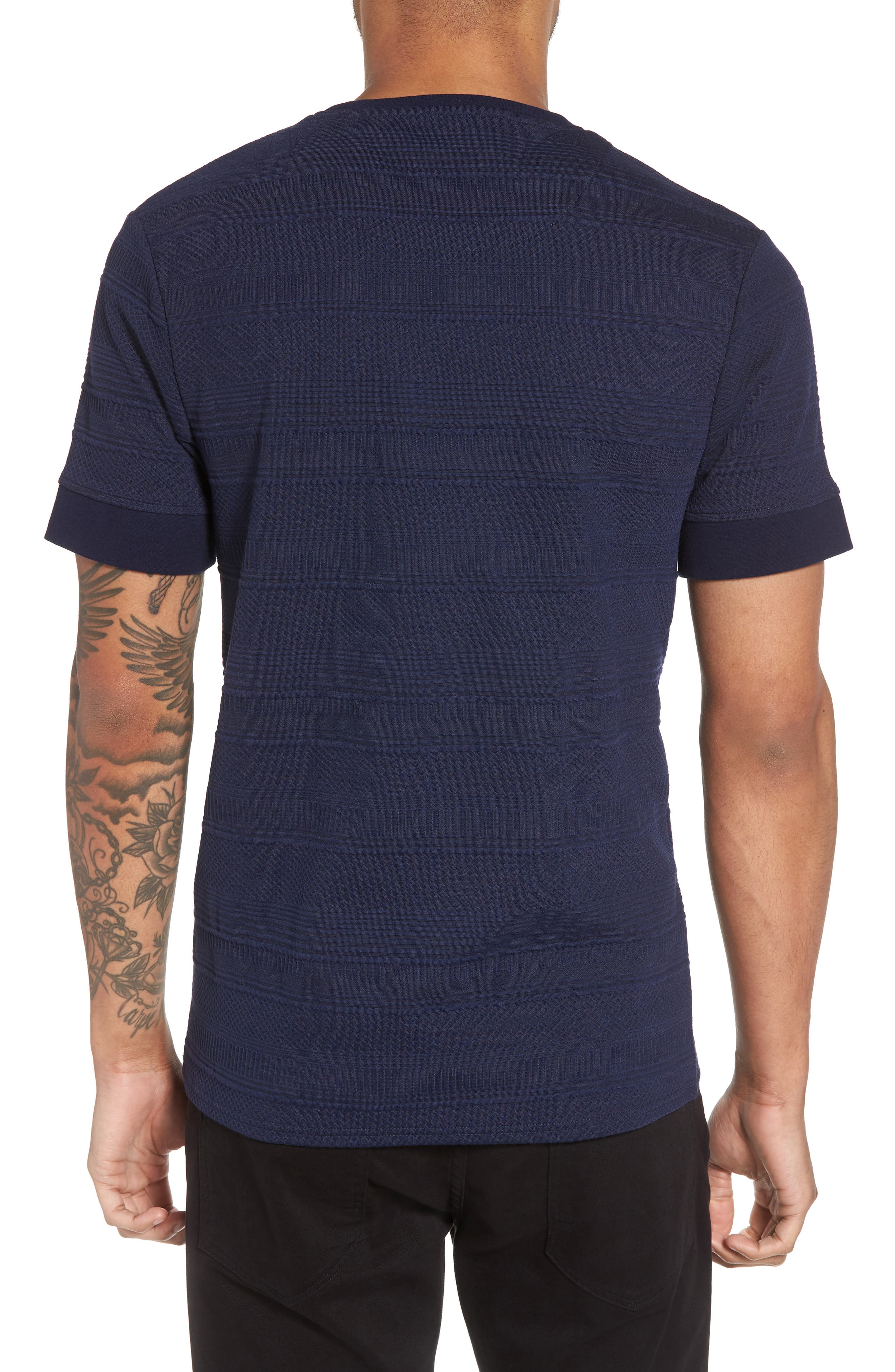 Banded Cuff Crewneck T-Shirt,                             Alternate thumbnail 2, color,                             Navy/Black
