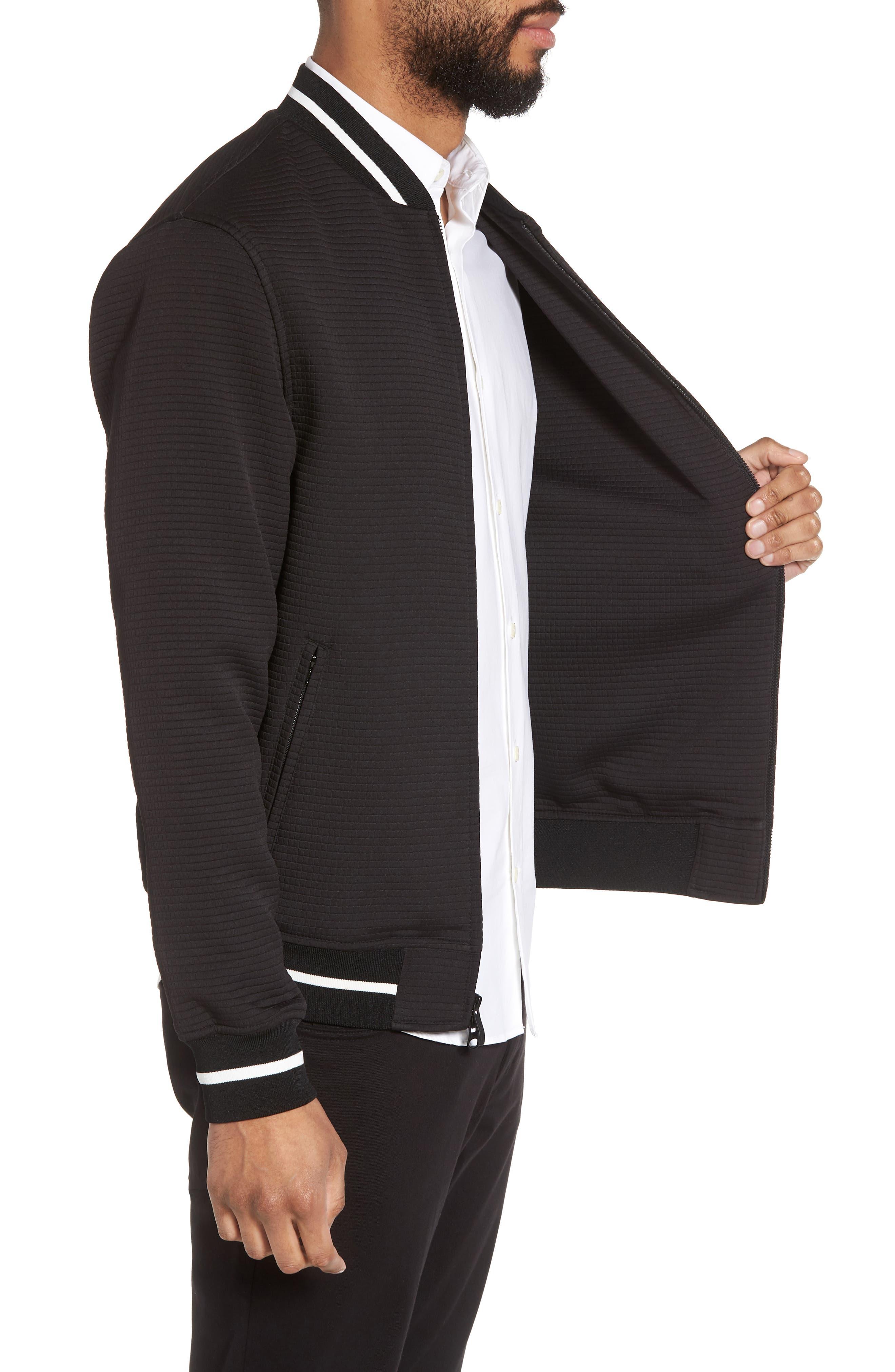 Slim Fit Bomber Jacket,                             Alternate thumbnail 3, color,                             Black Solid