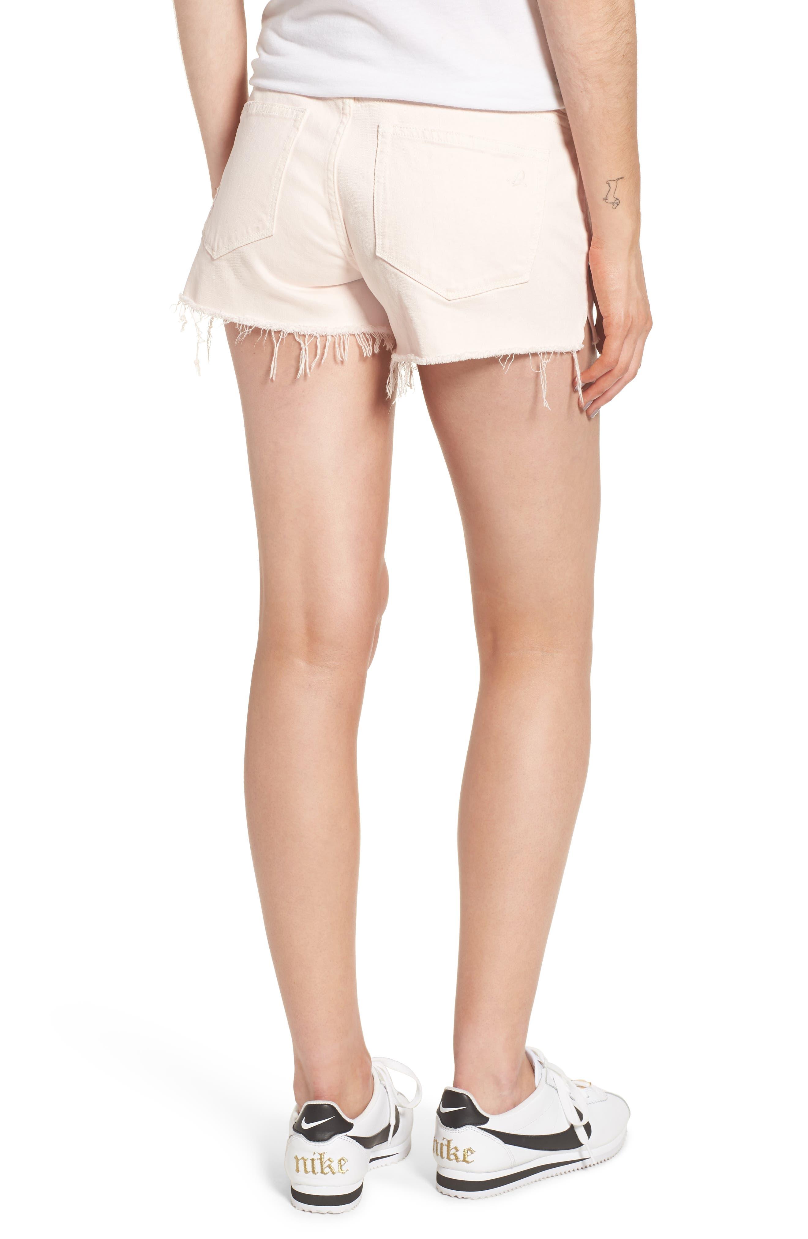 Renee Notch Raw Hem Denim Shorts,                             Alternate thumbnail 2, color,                             Blush Pink