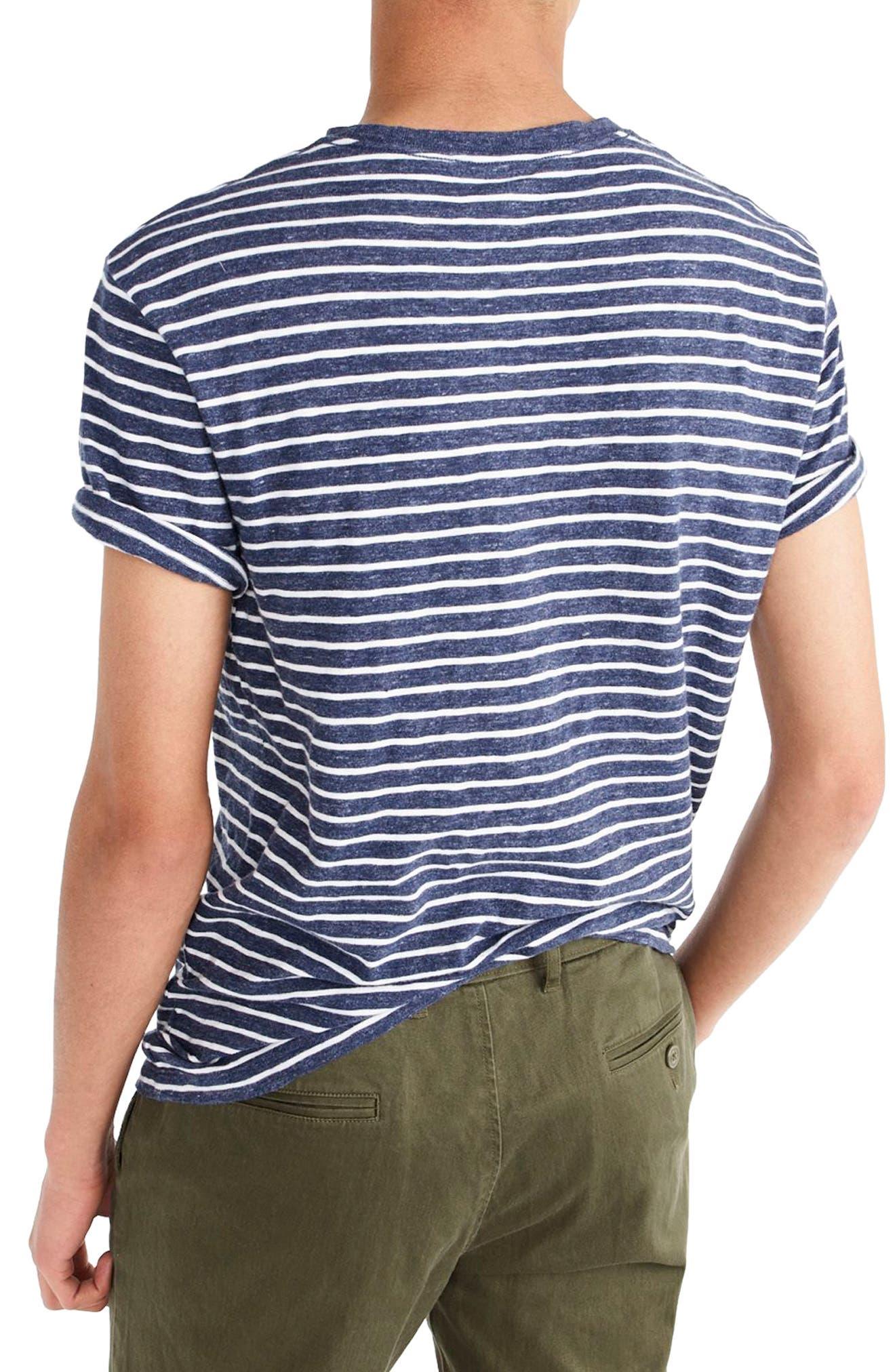 Stripe Slub Cotton T-Shirt,                             Alternate thumbnail 2, color,                             Heather Ink