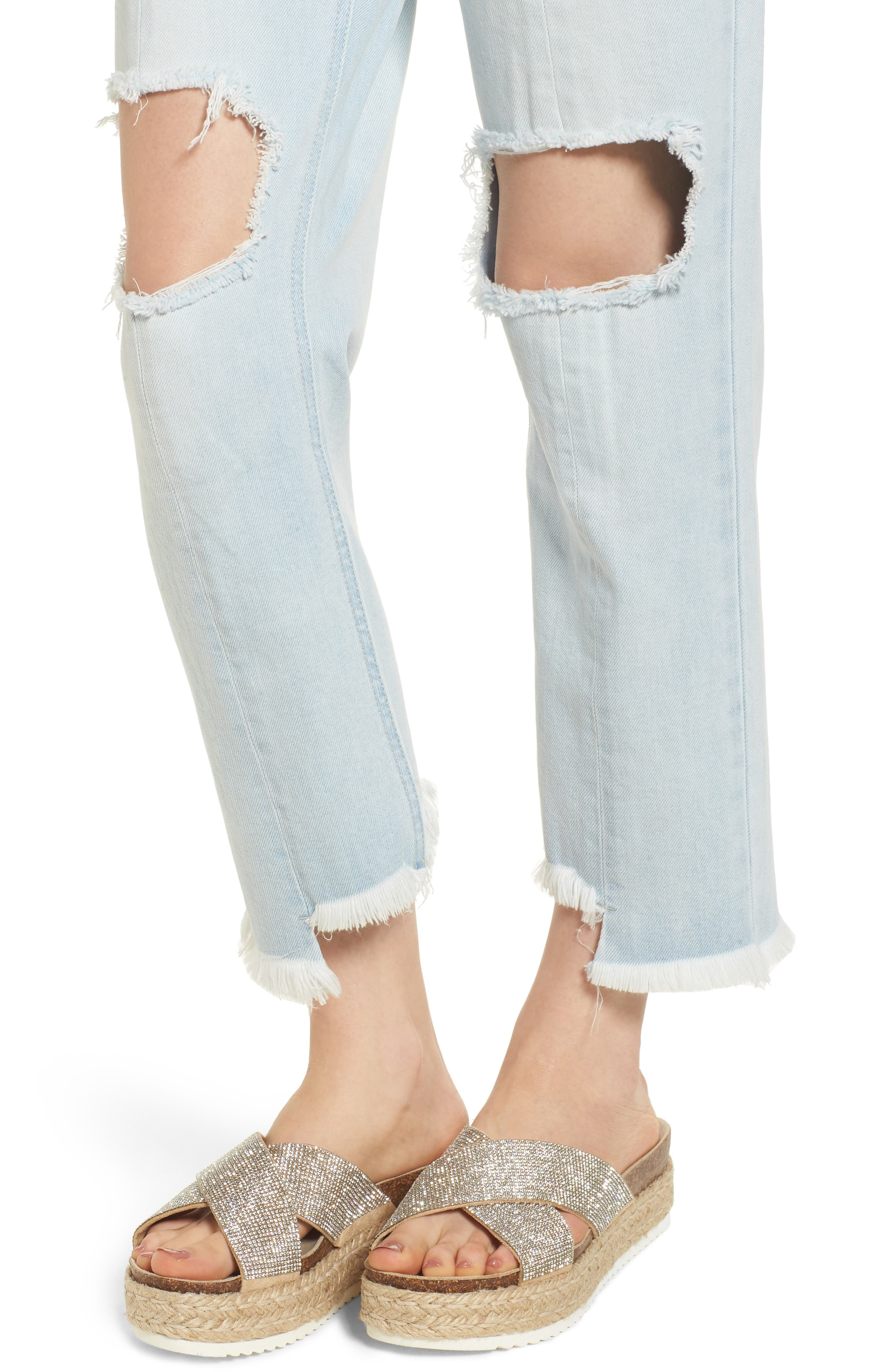 Ripped Boyfriend Jeans,                             Alternate thumbnail 4, color,                             Super Light Wash