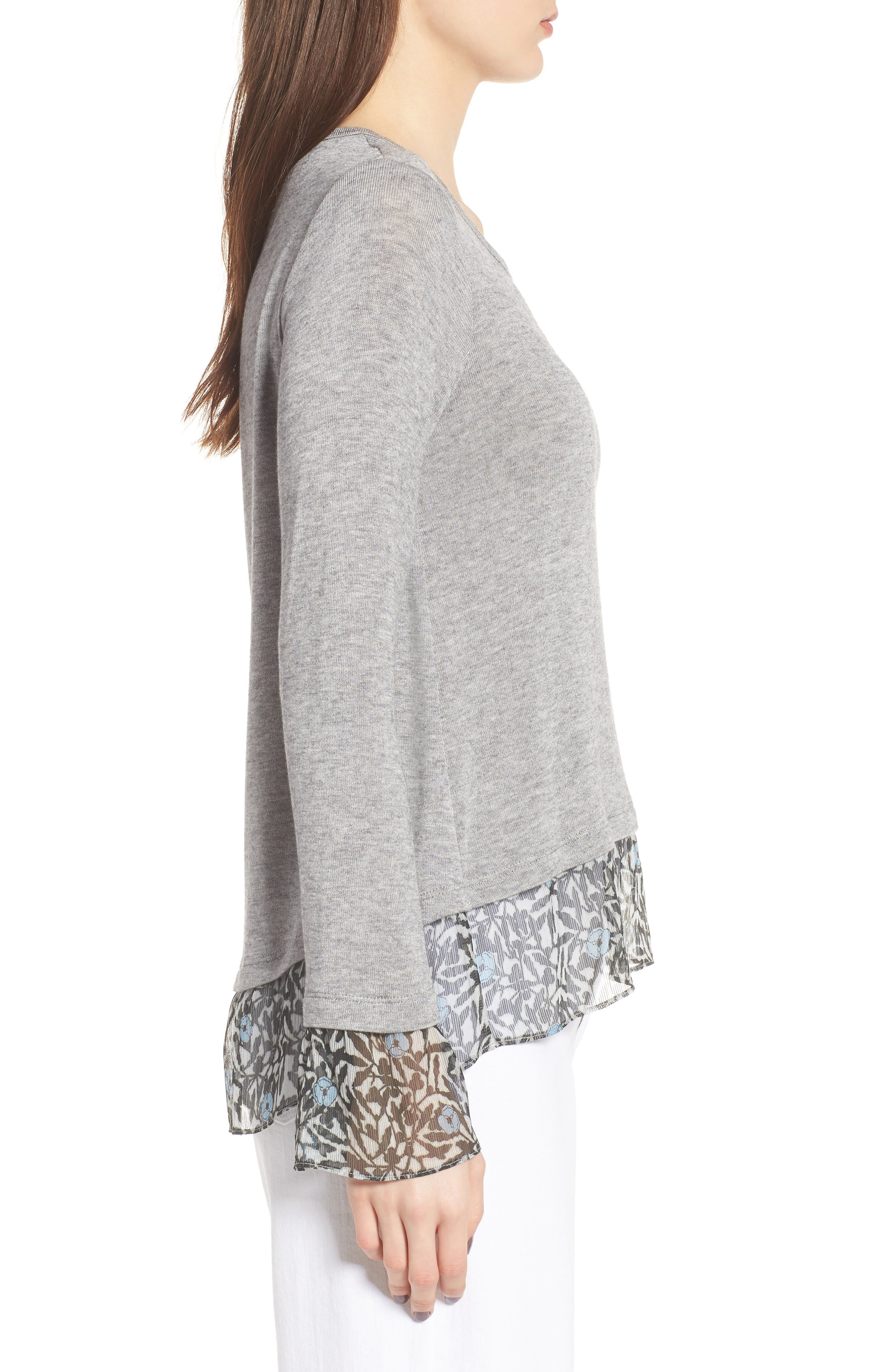 Taiko Lace Trim Top,                             Alternate thumbnail 3, color,                             Heather Grey