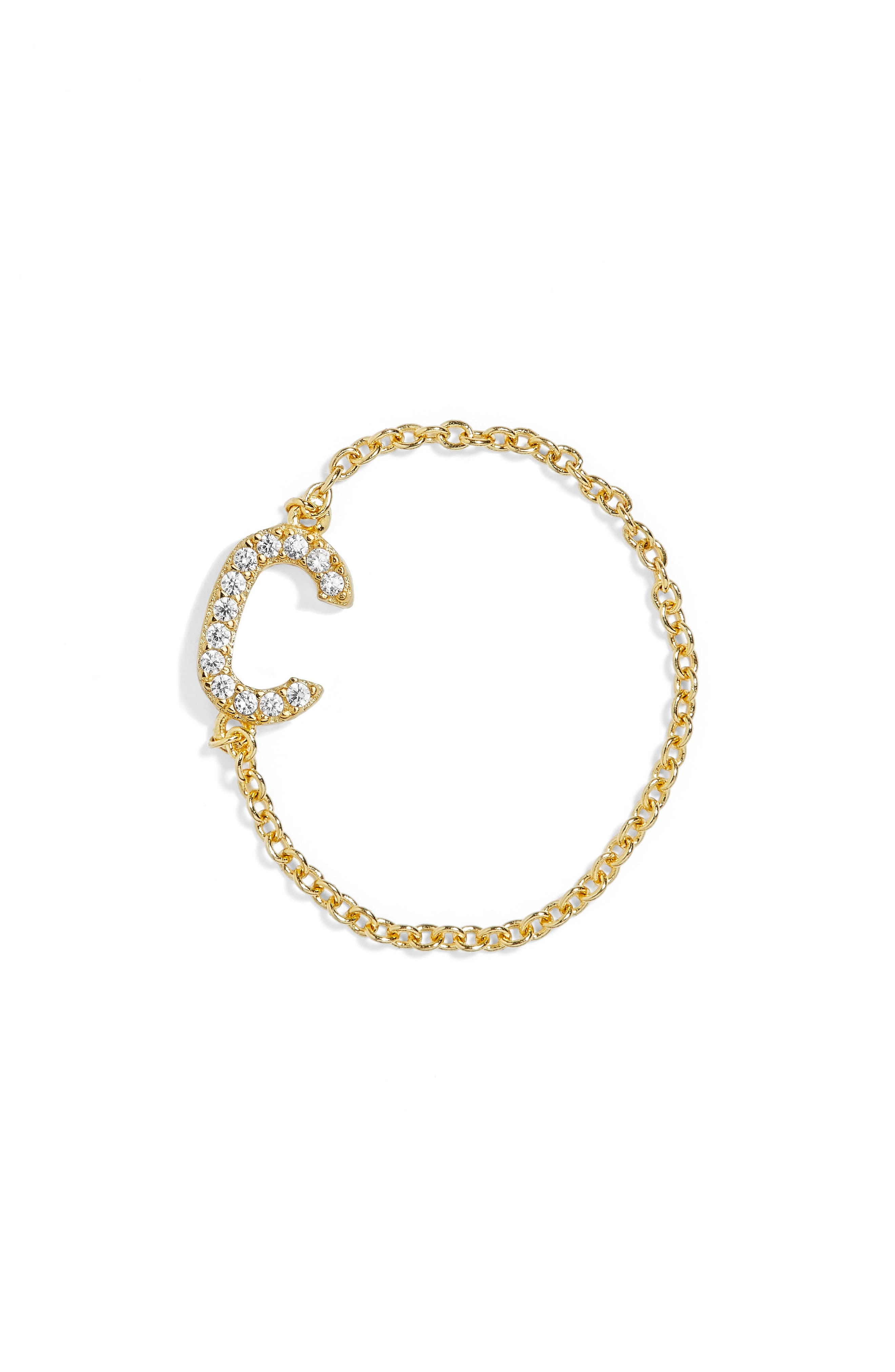Nome Everyday Fine Crystal Initial Chain Ring,                             Main thumbnail 1, color,                             Gold-C