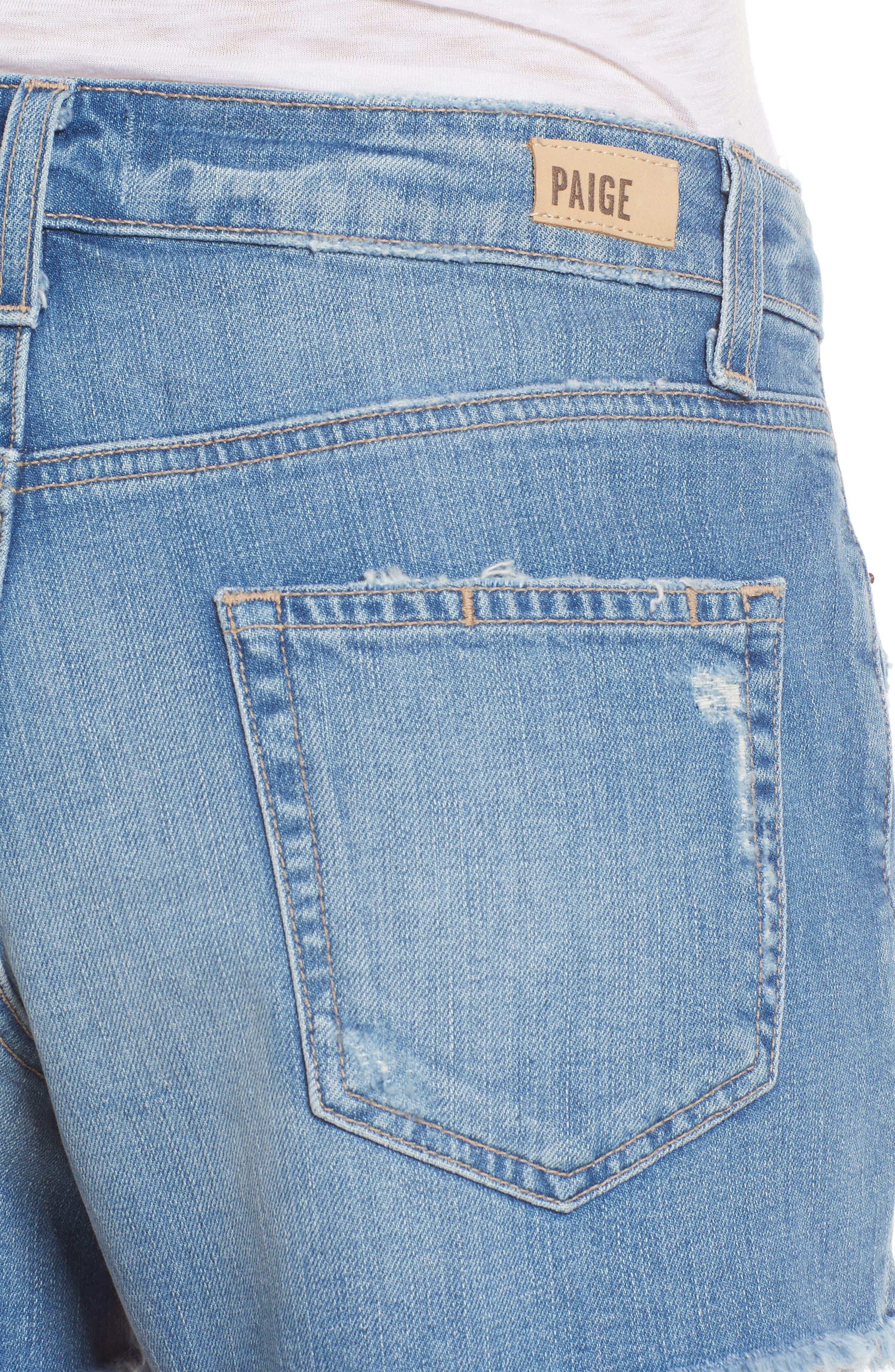 Emmitt High Waist Cutoff Denim Shorts,                             Alternate thumbnail 4, color,                             Janis Destructed
