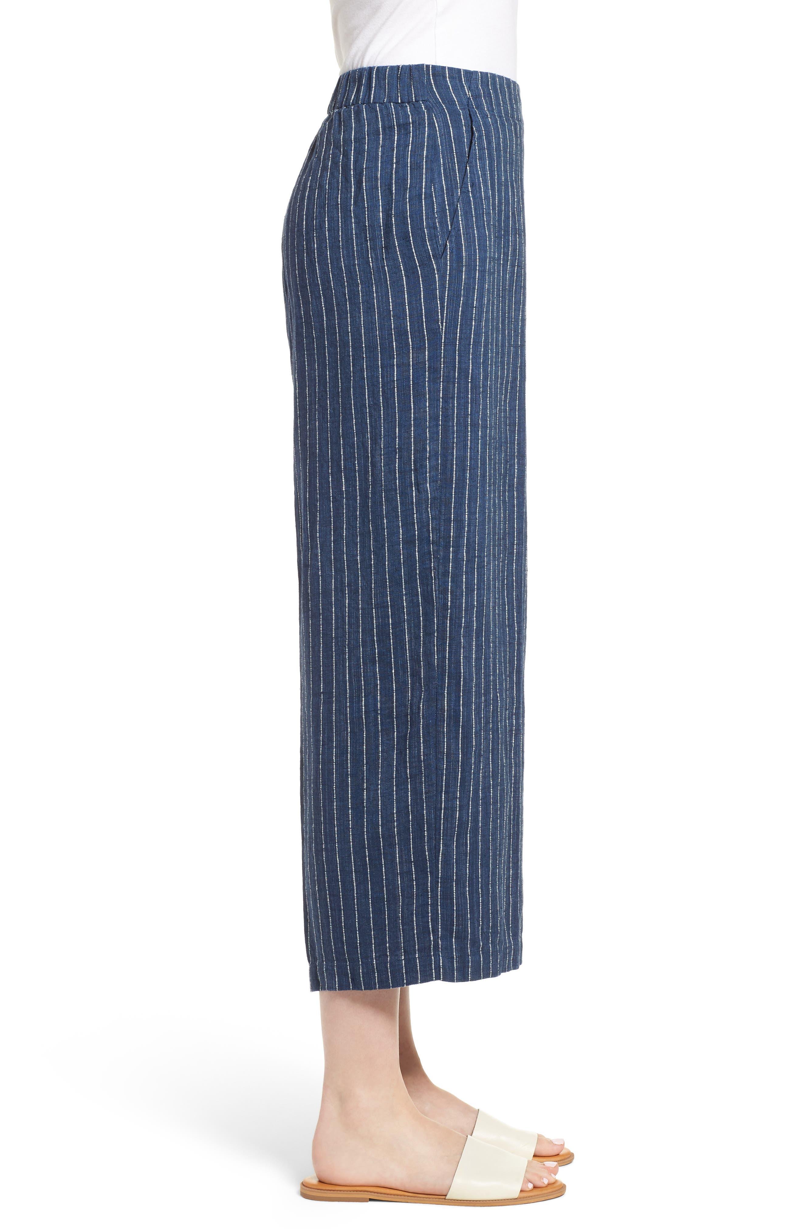 Stripe Linen Crop Pants,                             Alternate thumbnail 3, color,                             Denim