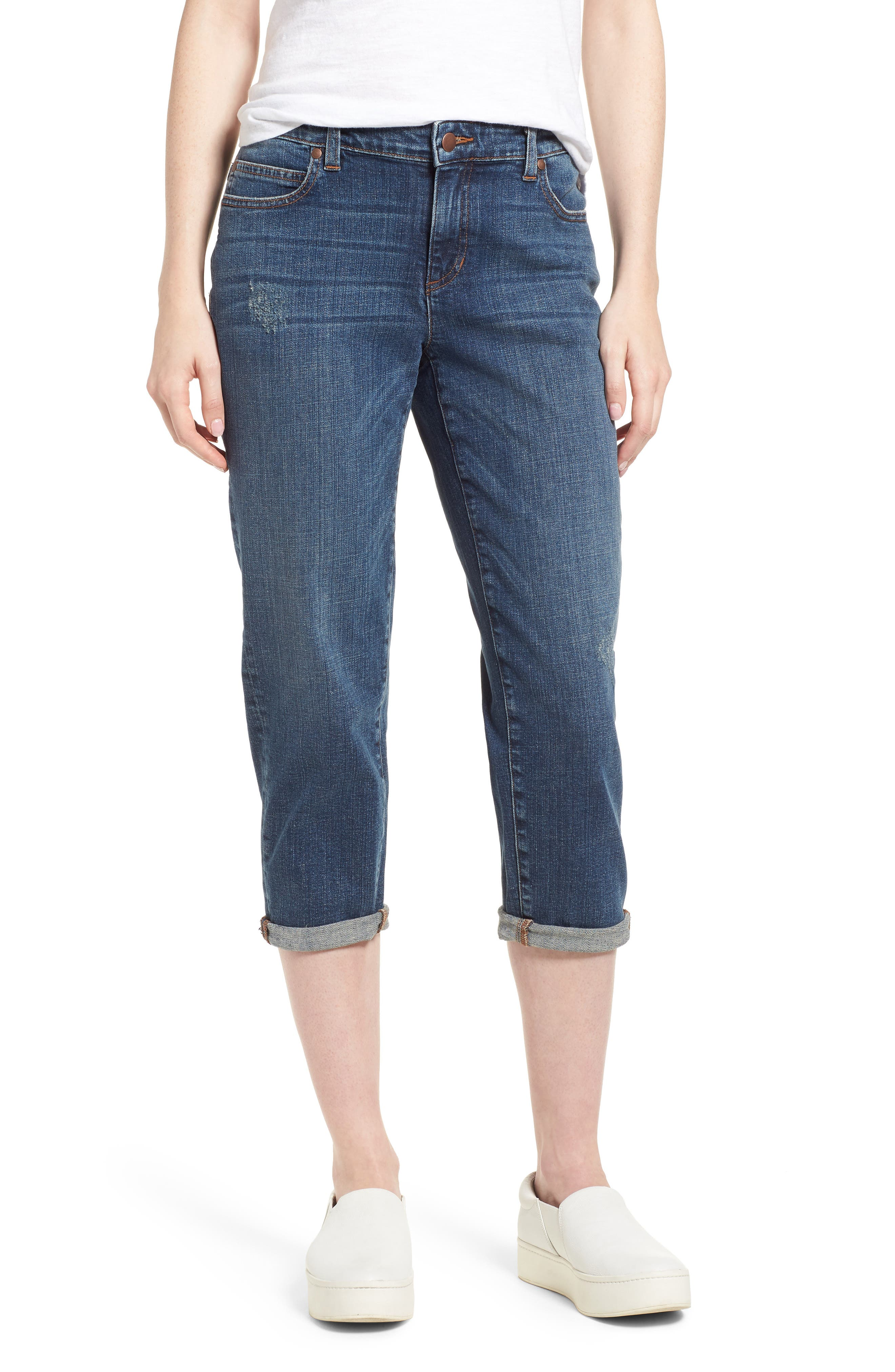 Tapered Stretch Organic Cotton Crop Jeans,                             Main thumbnail 1, color,                             Abraded Aged Indigo