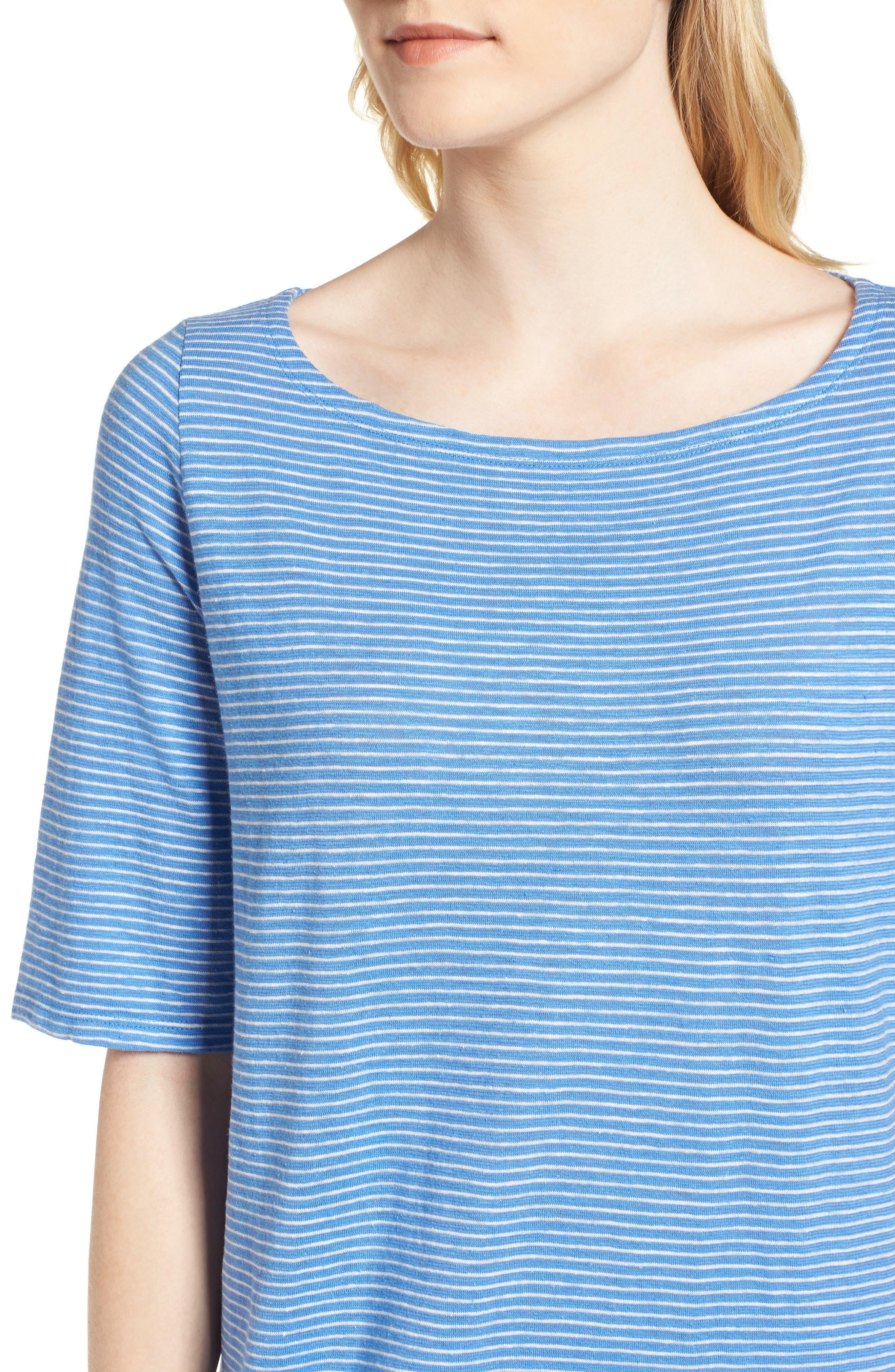 Hemp & Organic Cotton Jersey Dress,                             Alternate thumbnail 4, color,                             Bluebell