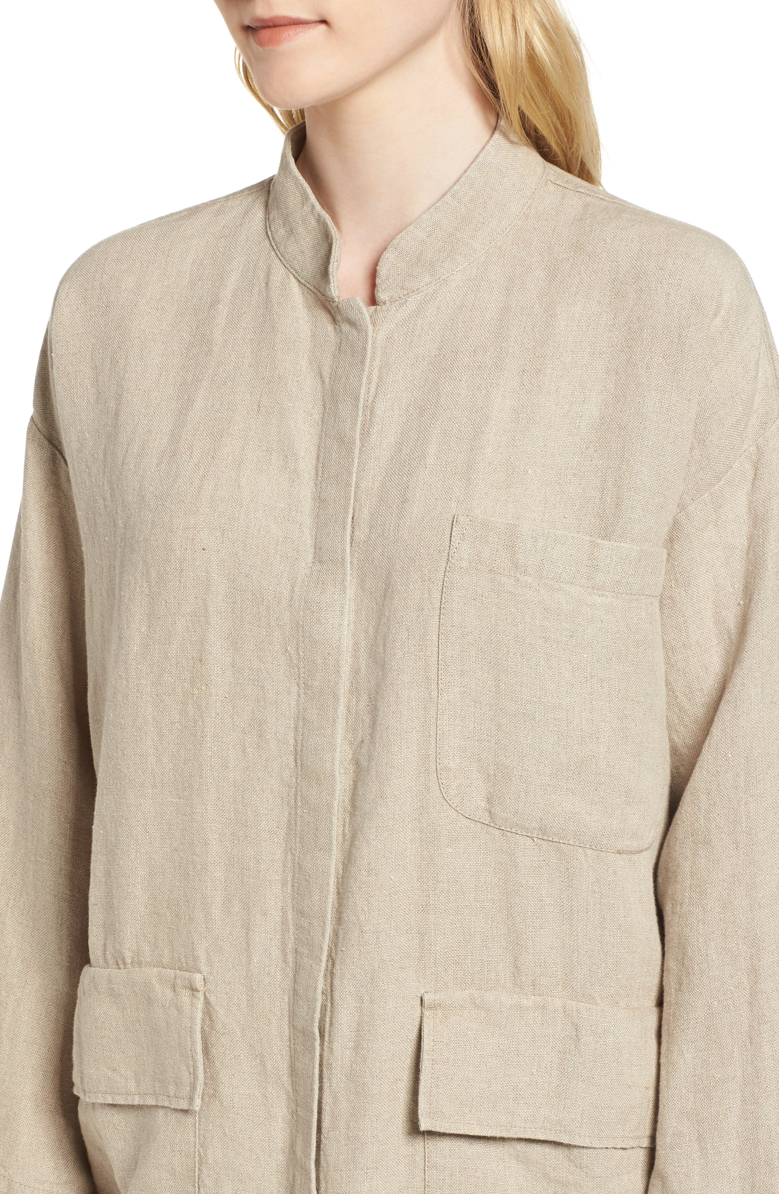 Organic Linen Jacket,                             Alternate thumbnail 4, color,                             Undyed Natural
