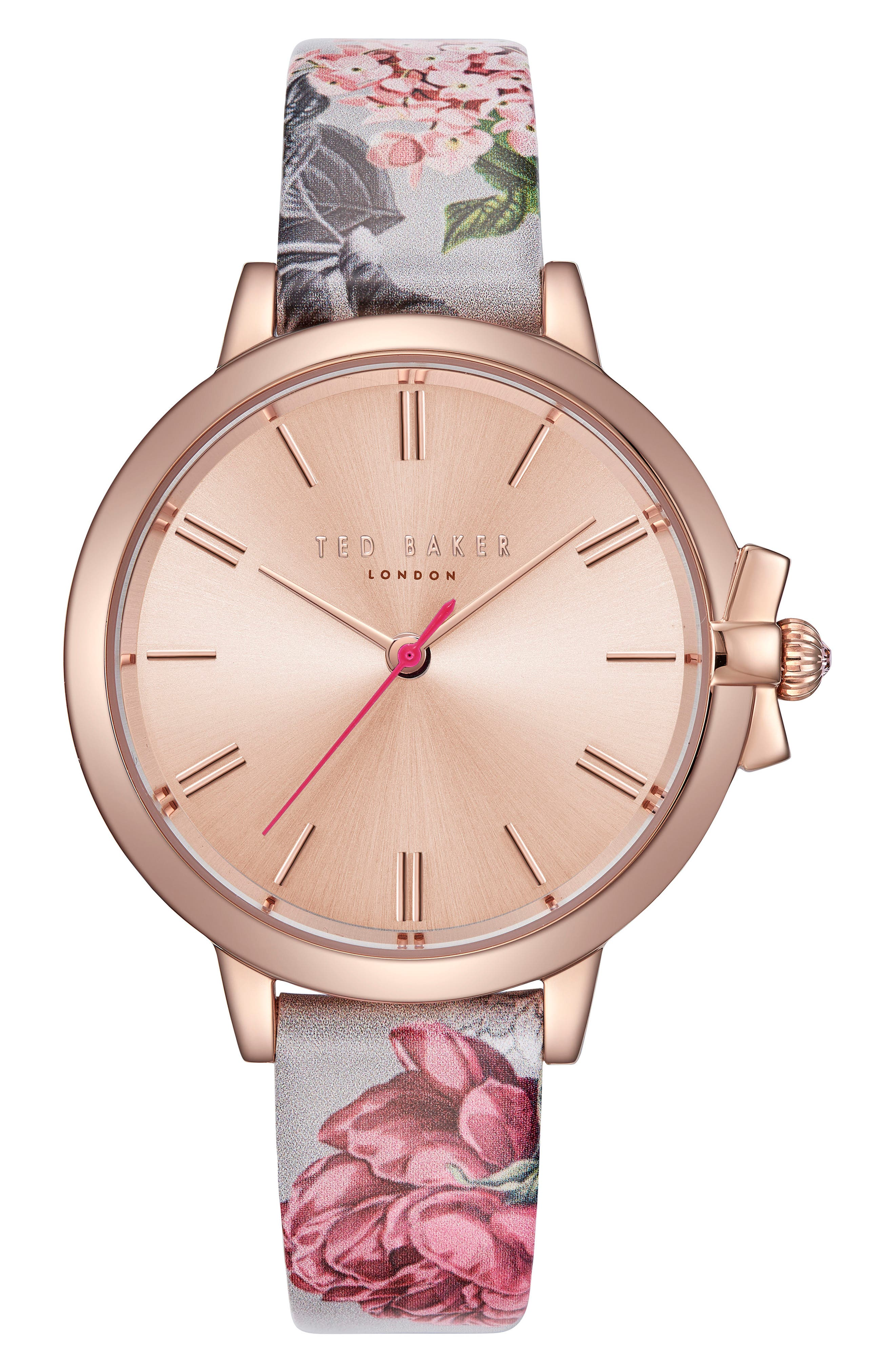 Leather Strap Watch, 36mm,                         Main,                         color, Printed/ Rose Gold