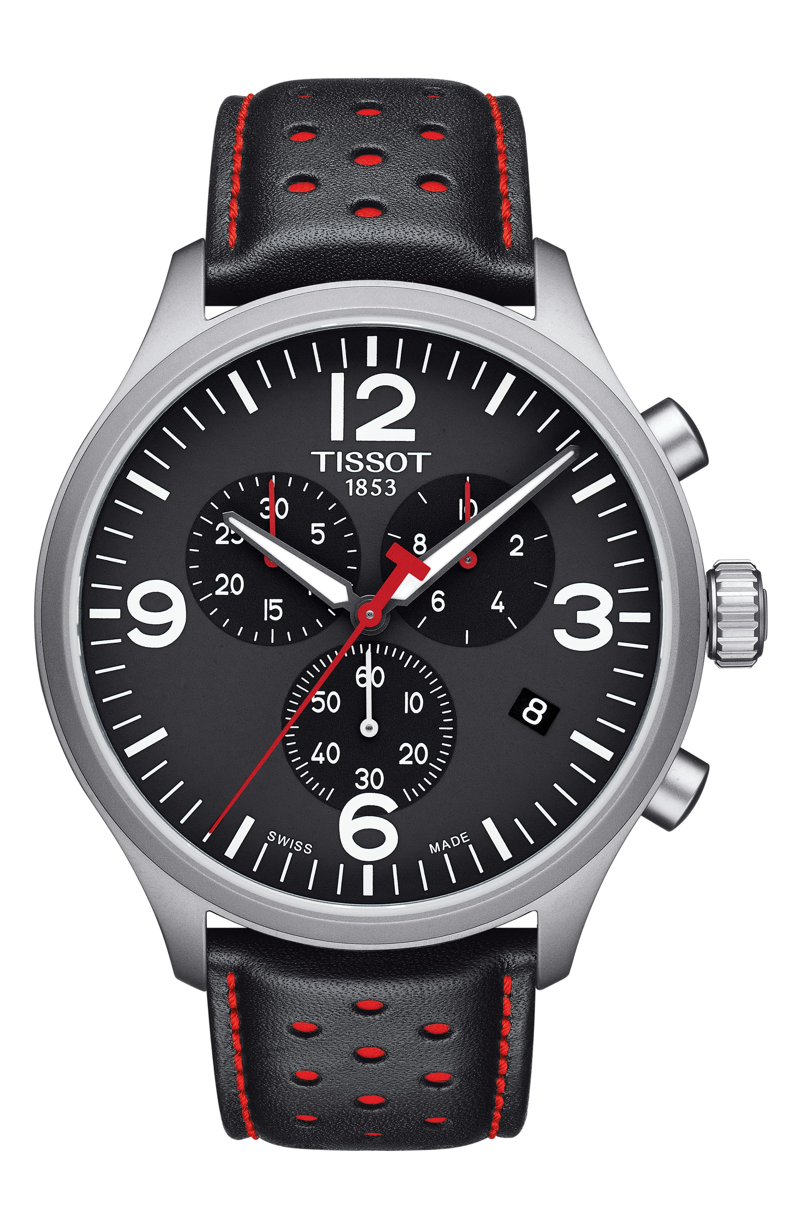 Chrono XL Collection Chronograph Leather Strap Watch, 45mm,                             Main thumbnail 1, color,                             Black/ Red/ Silver