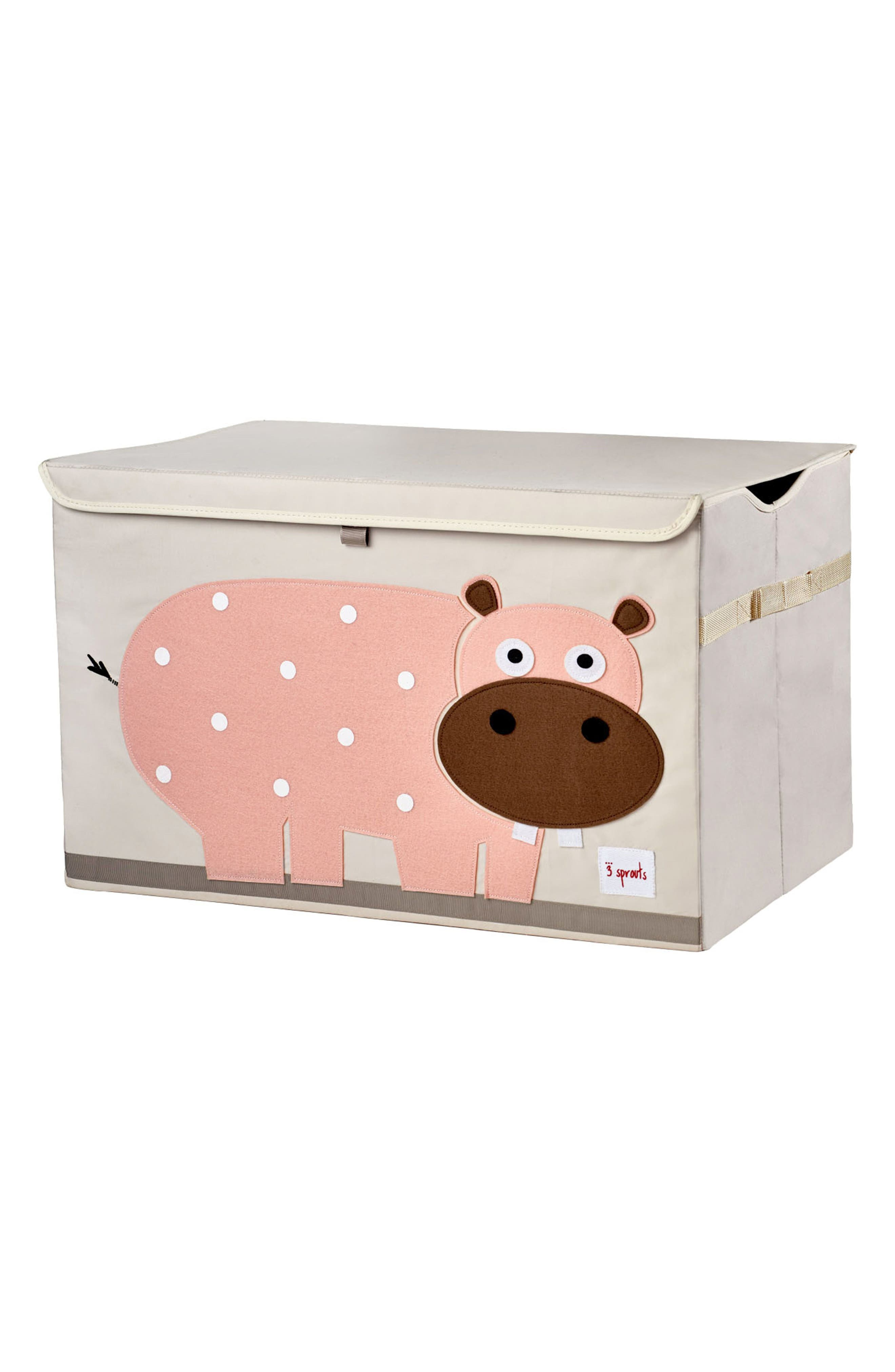 Hippo Toy Chest,                         Main,                         color, Pink
