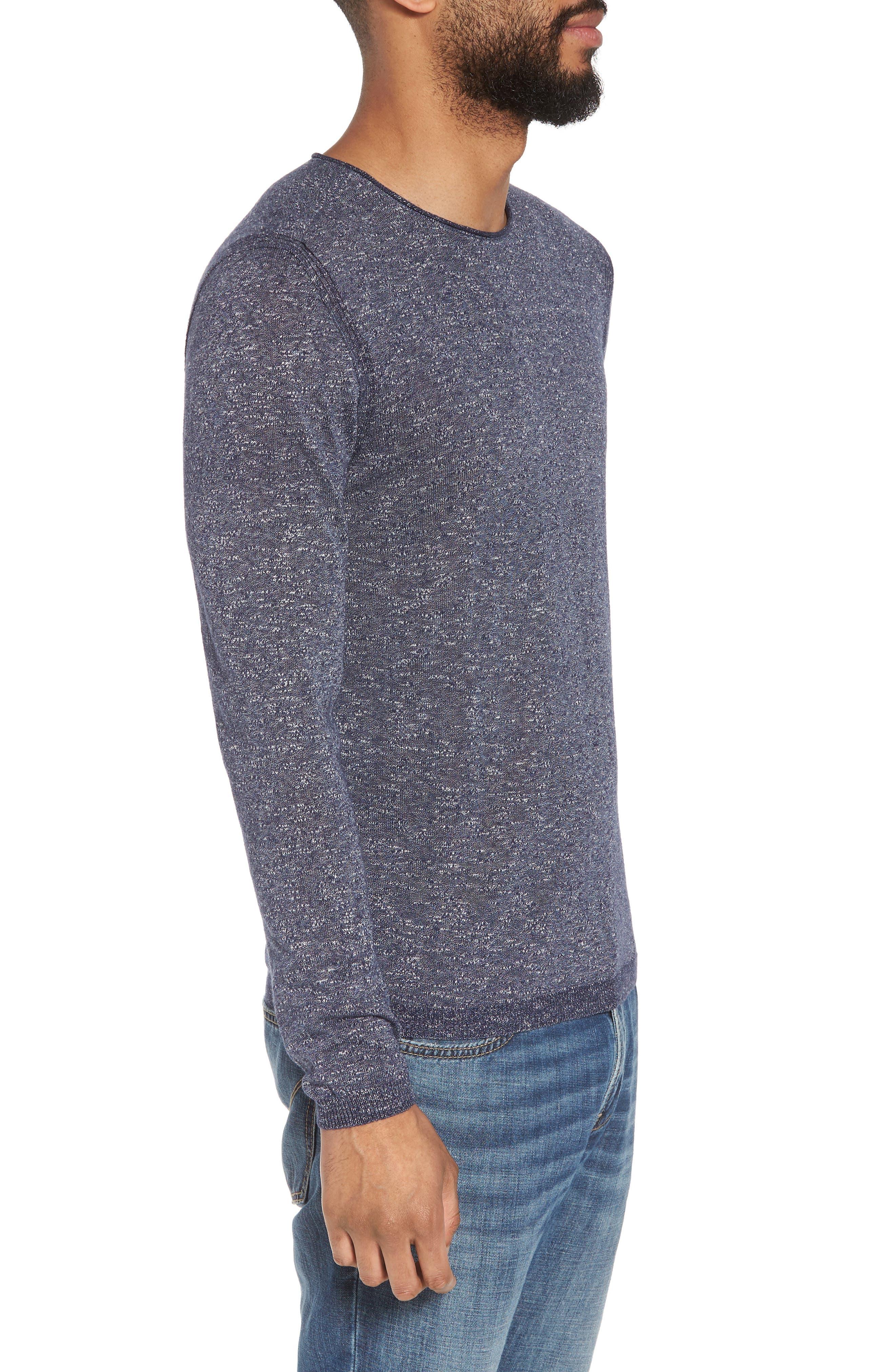 Slim Fit Cotton Blend Sweater,                             Alternate thumbnail 3, color,                             Officer Blue