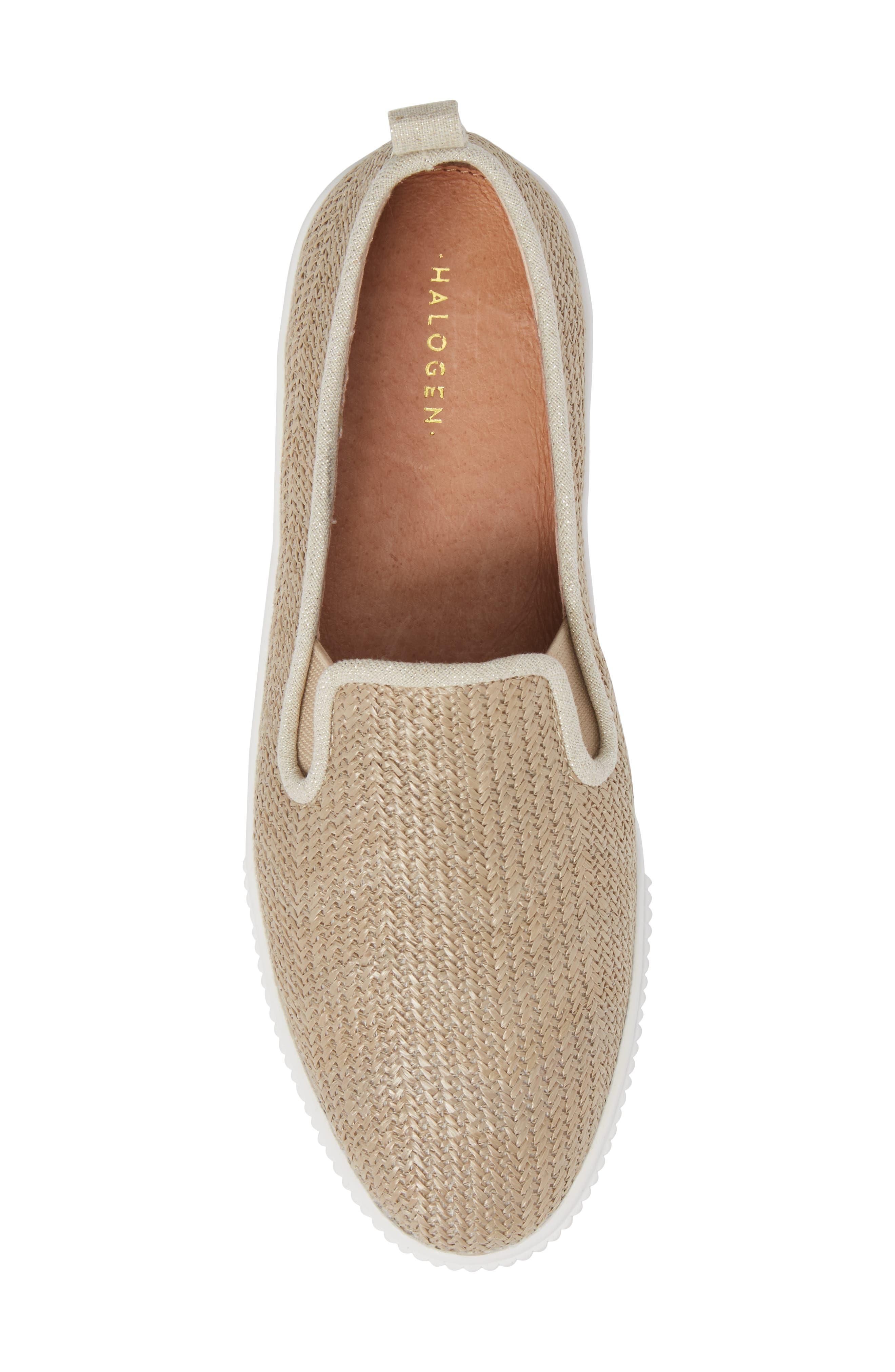 Baylee Platform Slip-On Sneaker,                             Alternate thumbnail 5, color,                             Natural Raffia