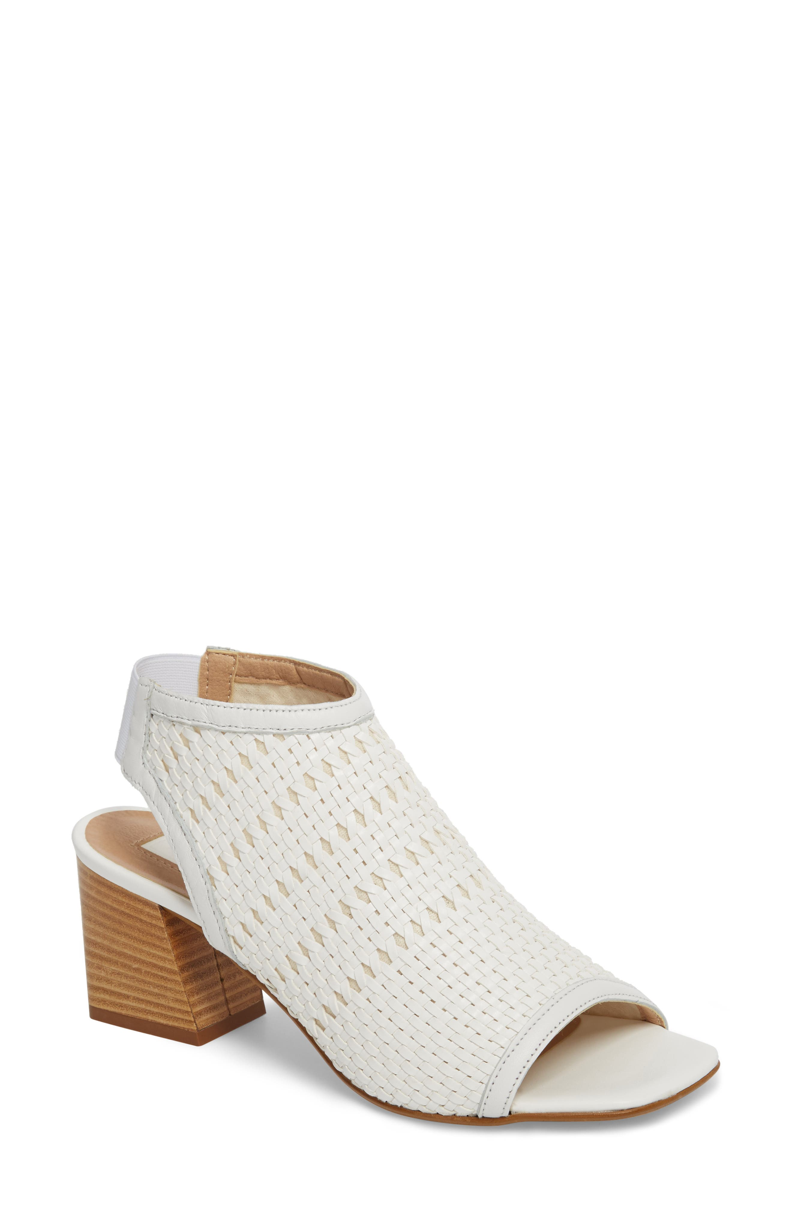 Nifty Woven Flared Heel Sandal,                         Main,                         color, White