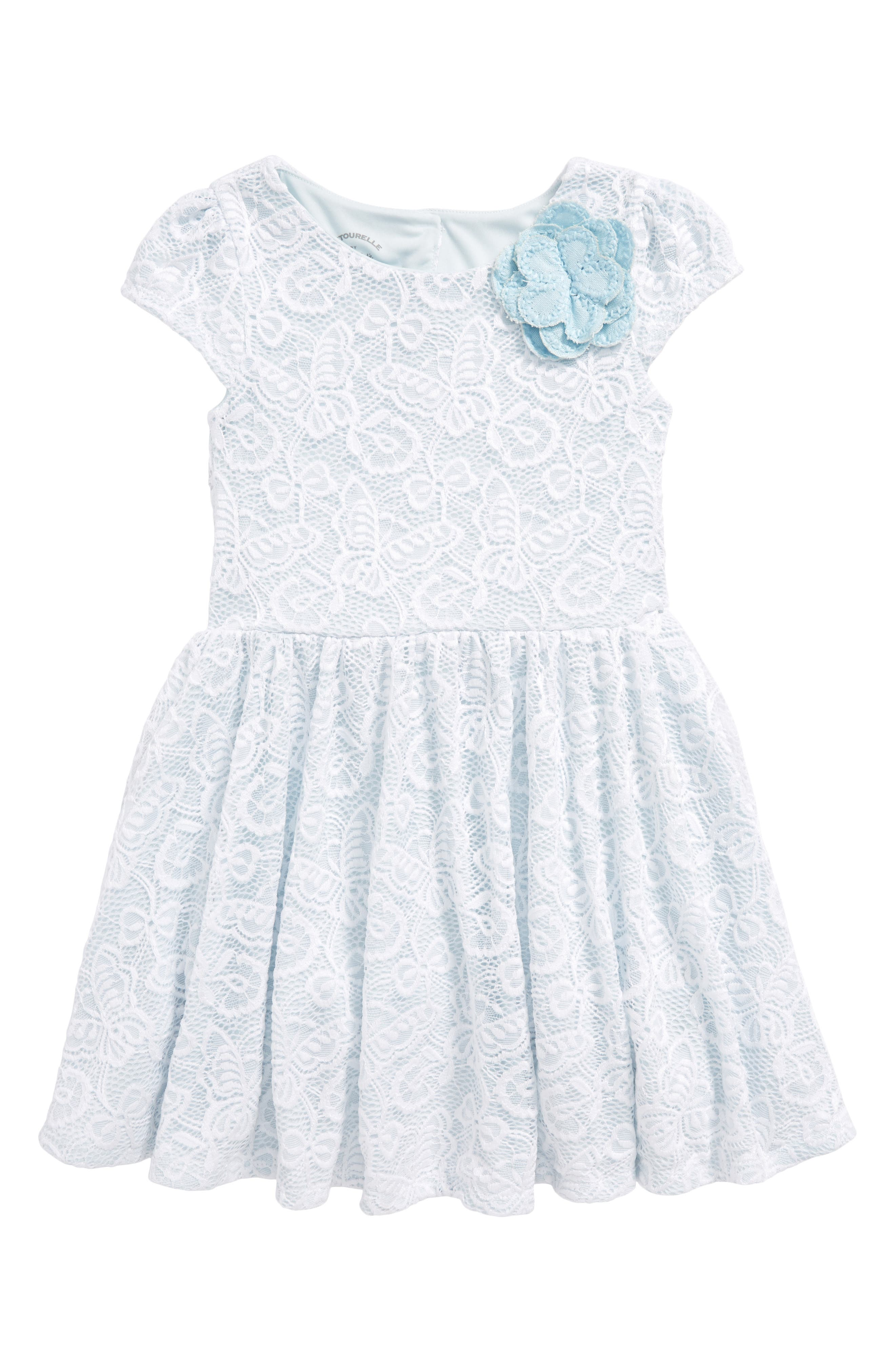Pastourelle by Pippa and Julie Lace Skater Dress,                             Main thumbnail 1, color,                             White