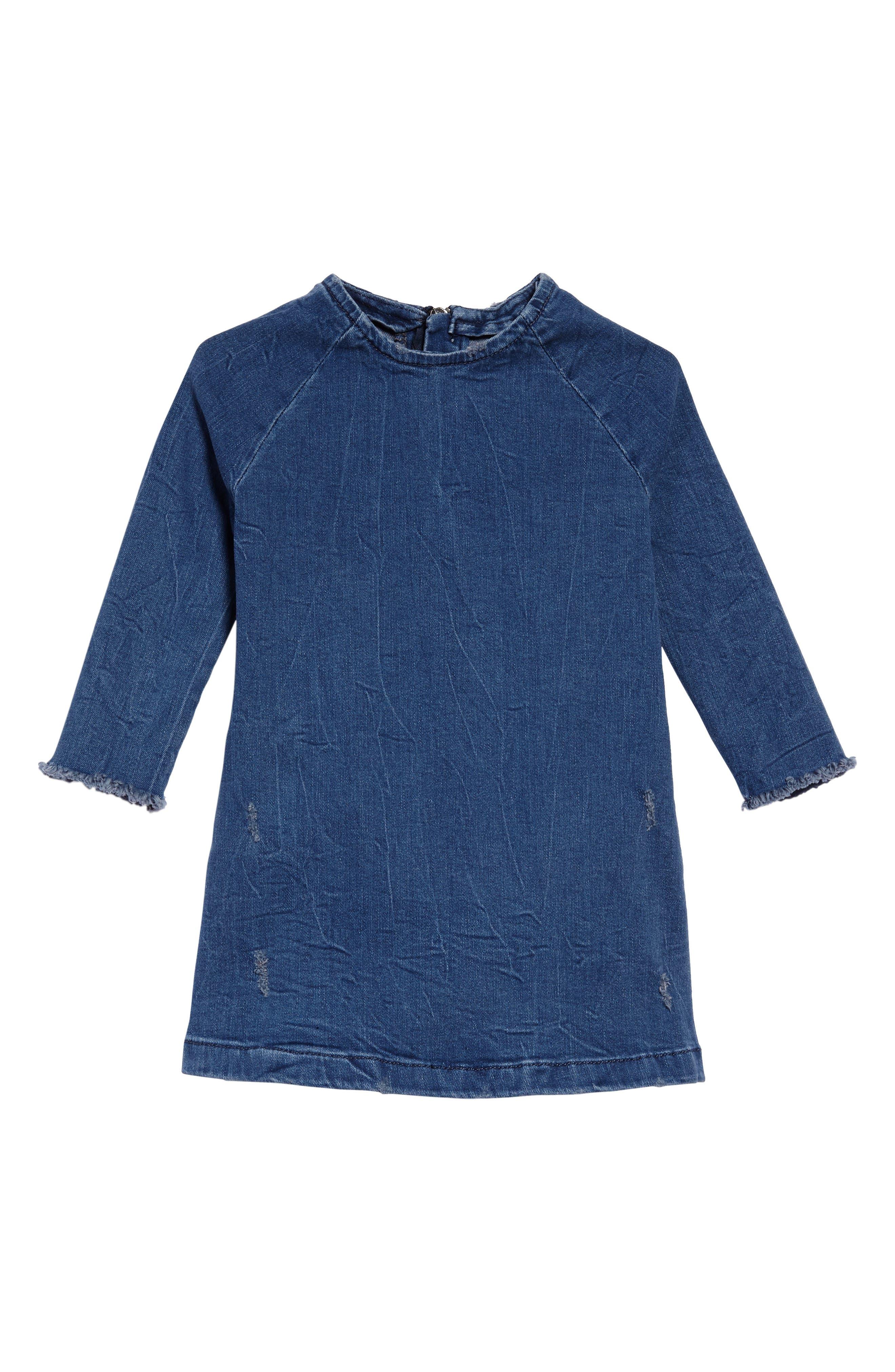 Denim A-Line Dress,                         Main,                         color, Denim