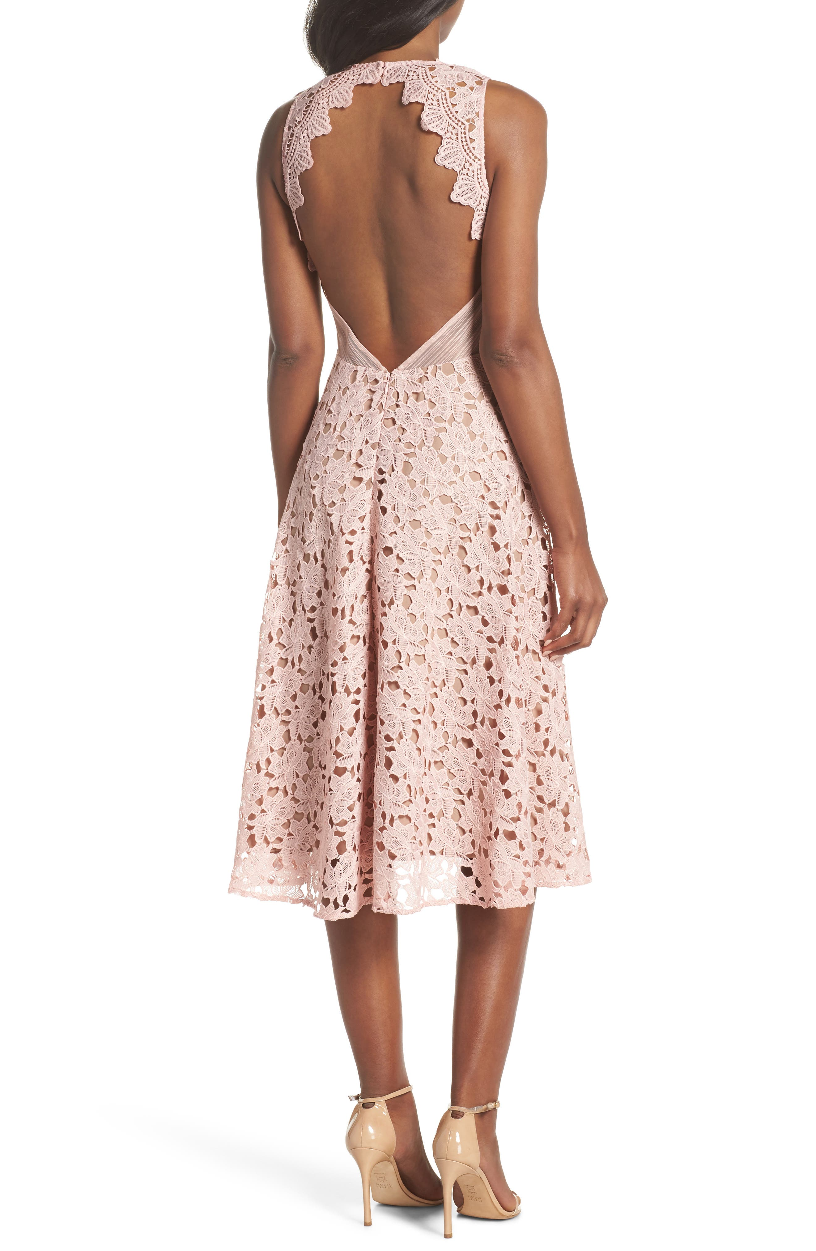 Ashley Guipure Lace Fit & Flare Dress,                             Alternate thumbnail 2, color,                             Pink