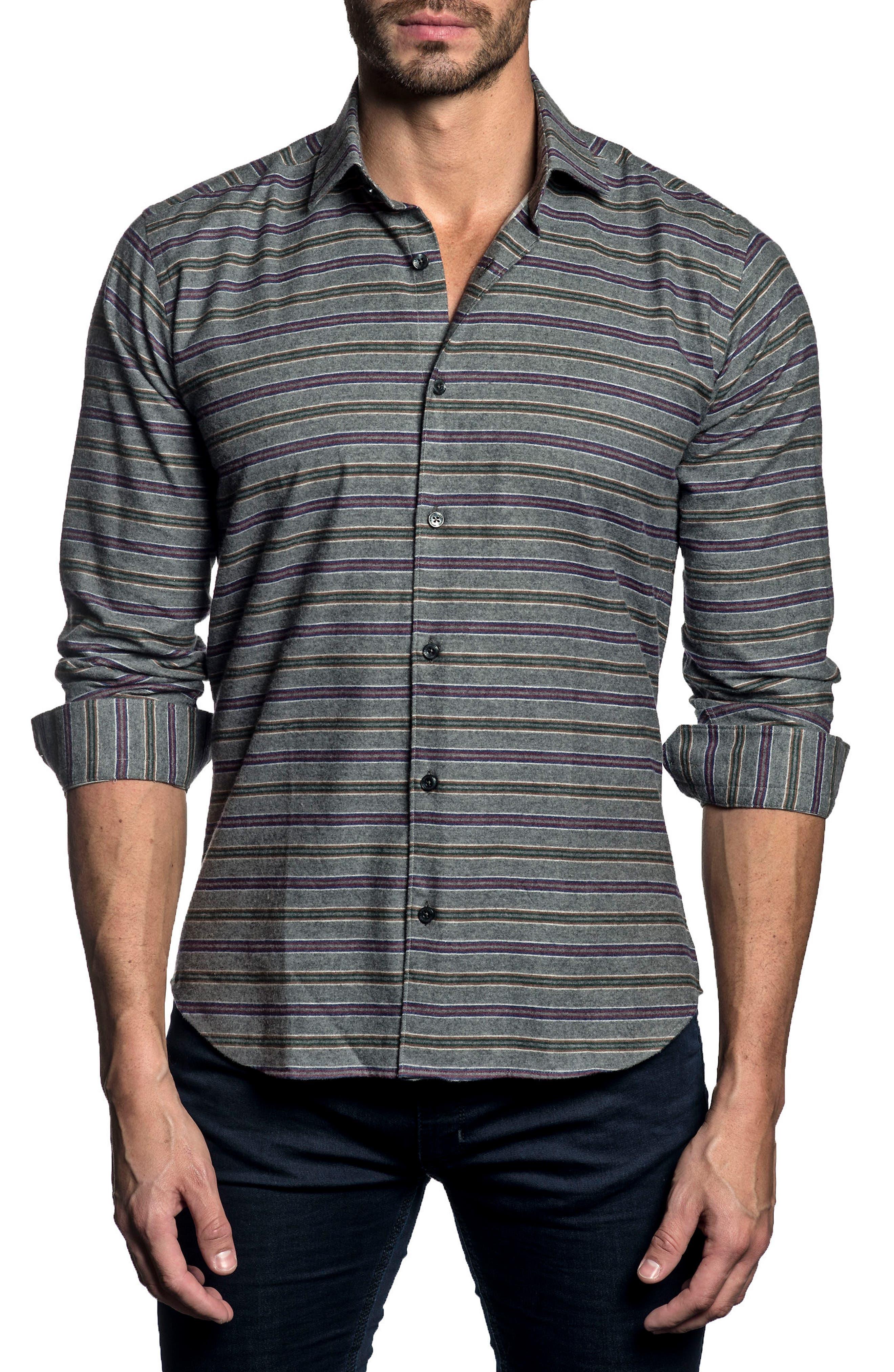 Trim Fit Stripe Sport Shirt,                             Main thumbnail 1, color,                             Grey Stripes