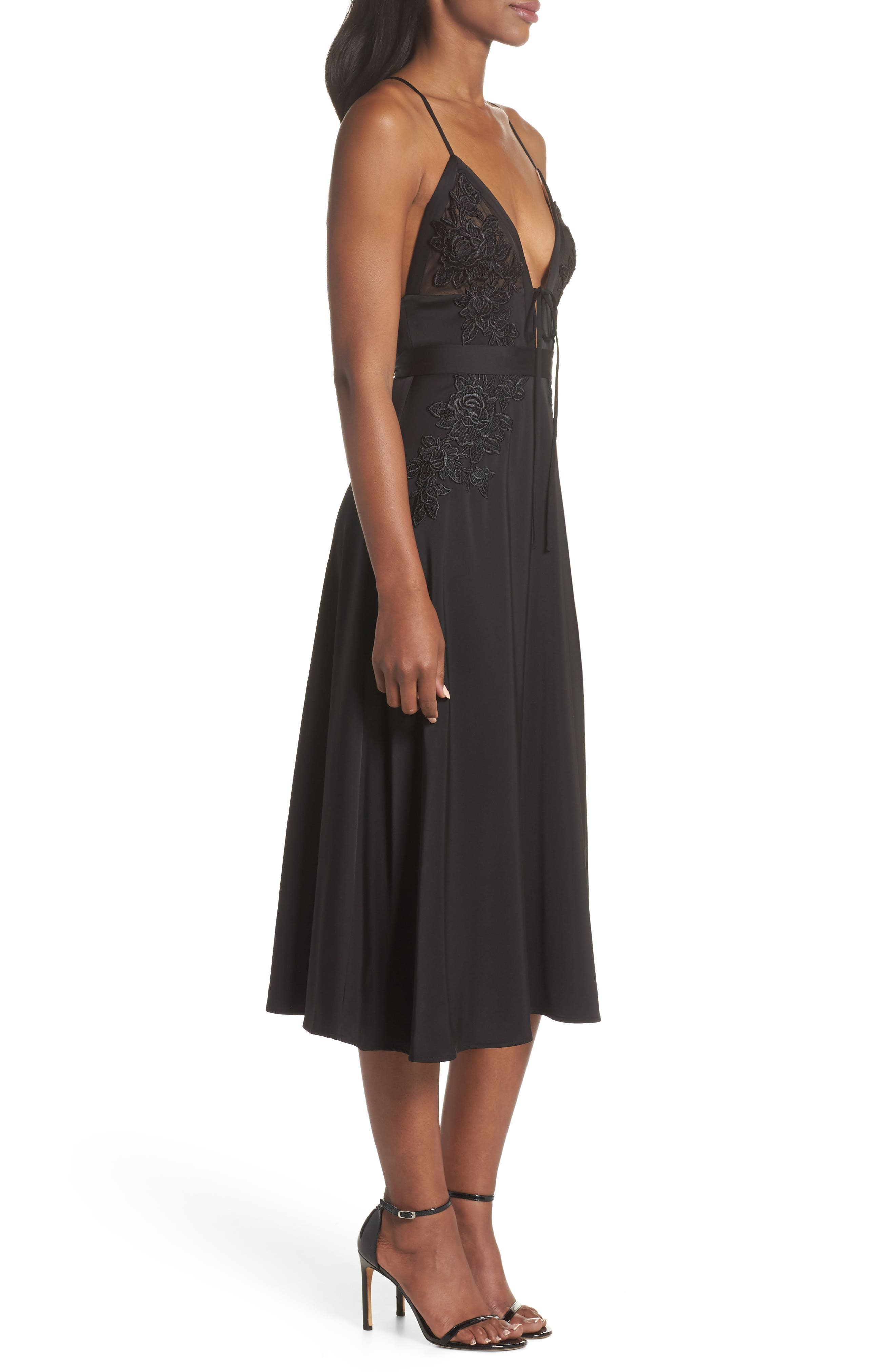 Rhea Floral Appliqué A-Line Dress,                             Alternate thumbnail 3, color,                             Black Multi