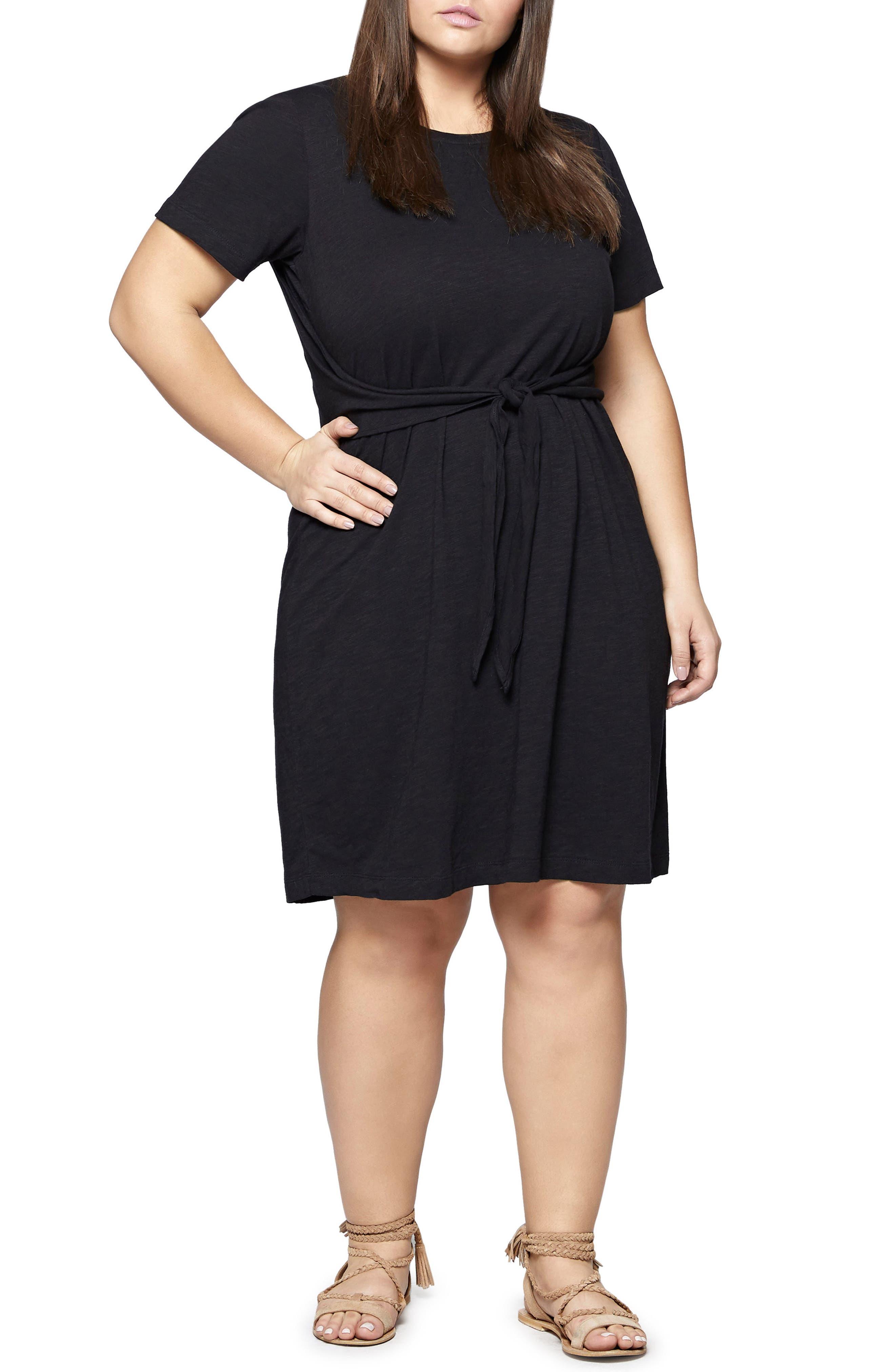 Juno Tie Waist T-Shirt Dress,                             Main thumbnail 1, color,                             Black