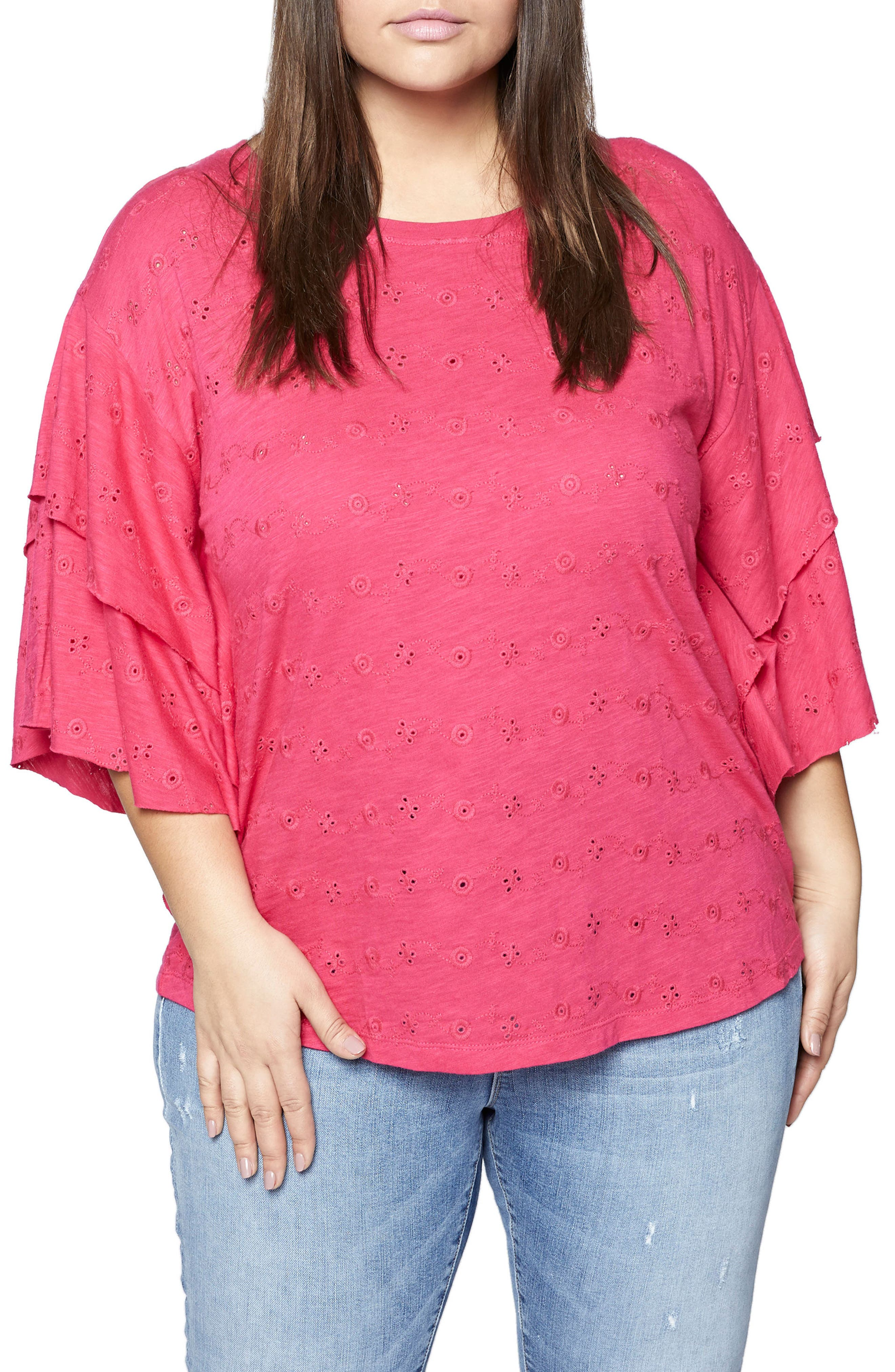 Elise Ruffled Eyelet Top,                             Main thumbnail 1, color,                             Camellia
