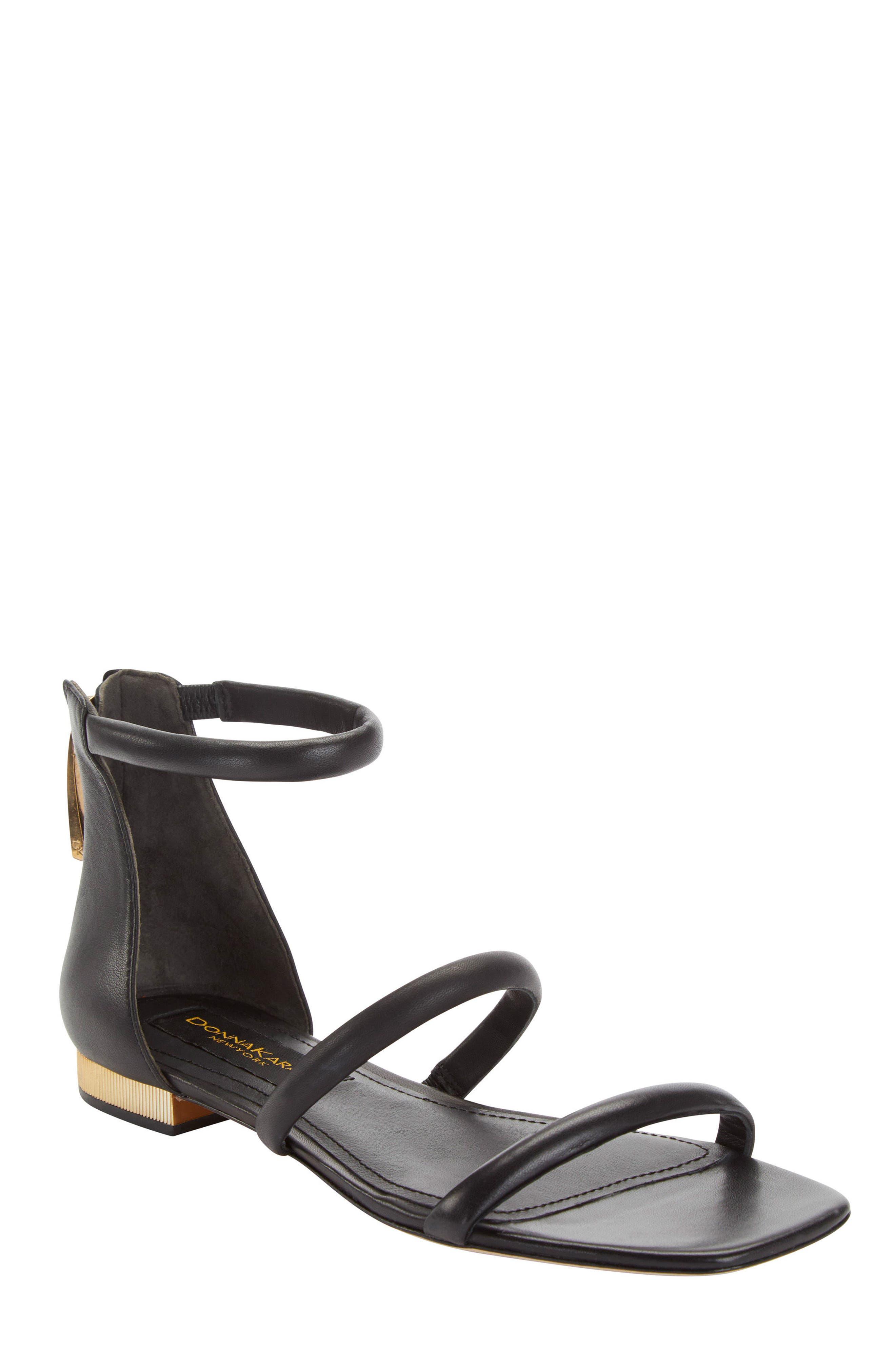 Donna Karan Galina Sandal,                             Main thumbnail 1, color,                             Black Leather