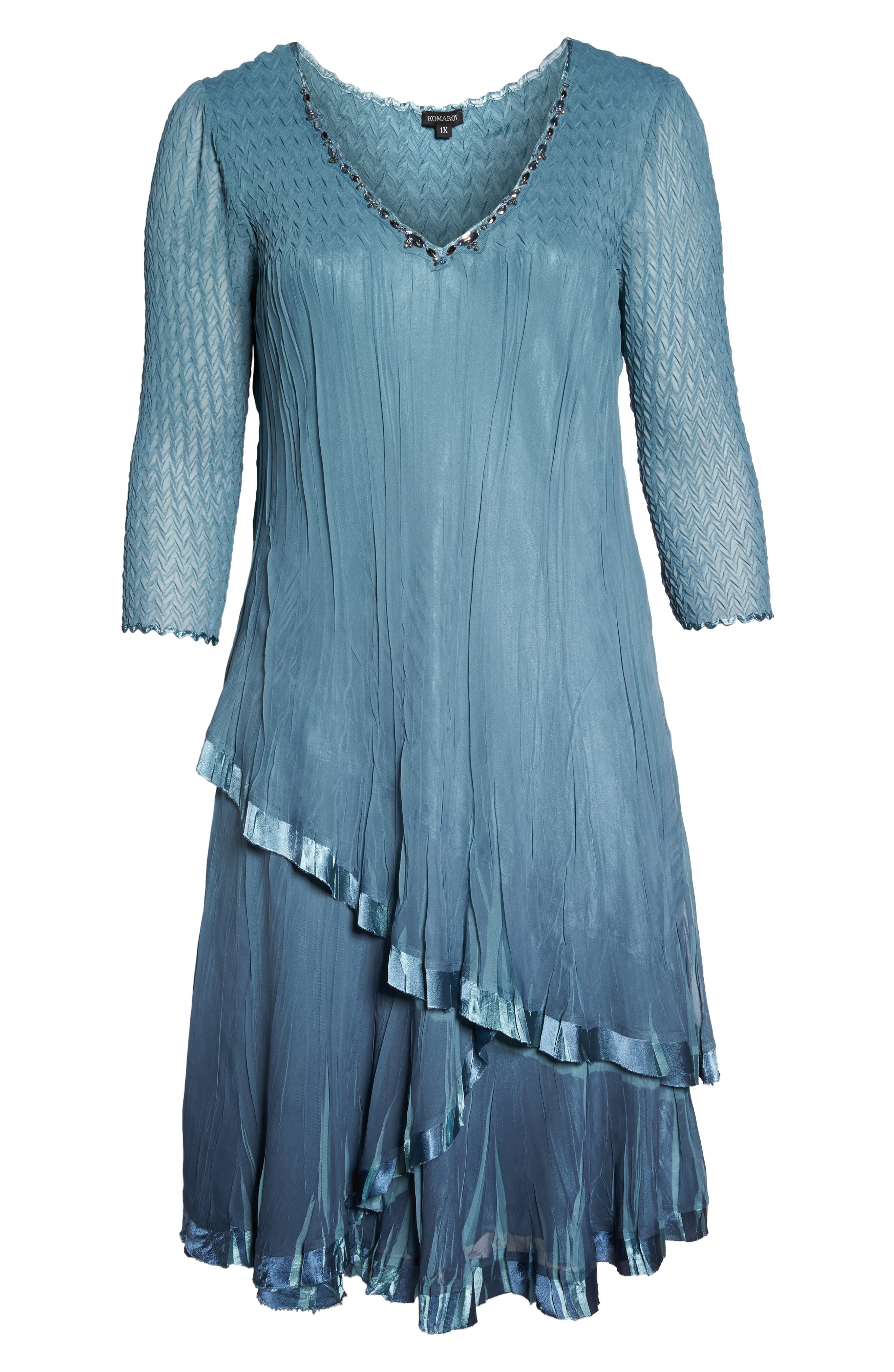 Bead Trim Tiered Chiffon Dress,                             Alternate thumbnail 6, color,                             Silver Blue Night Ombre