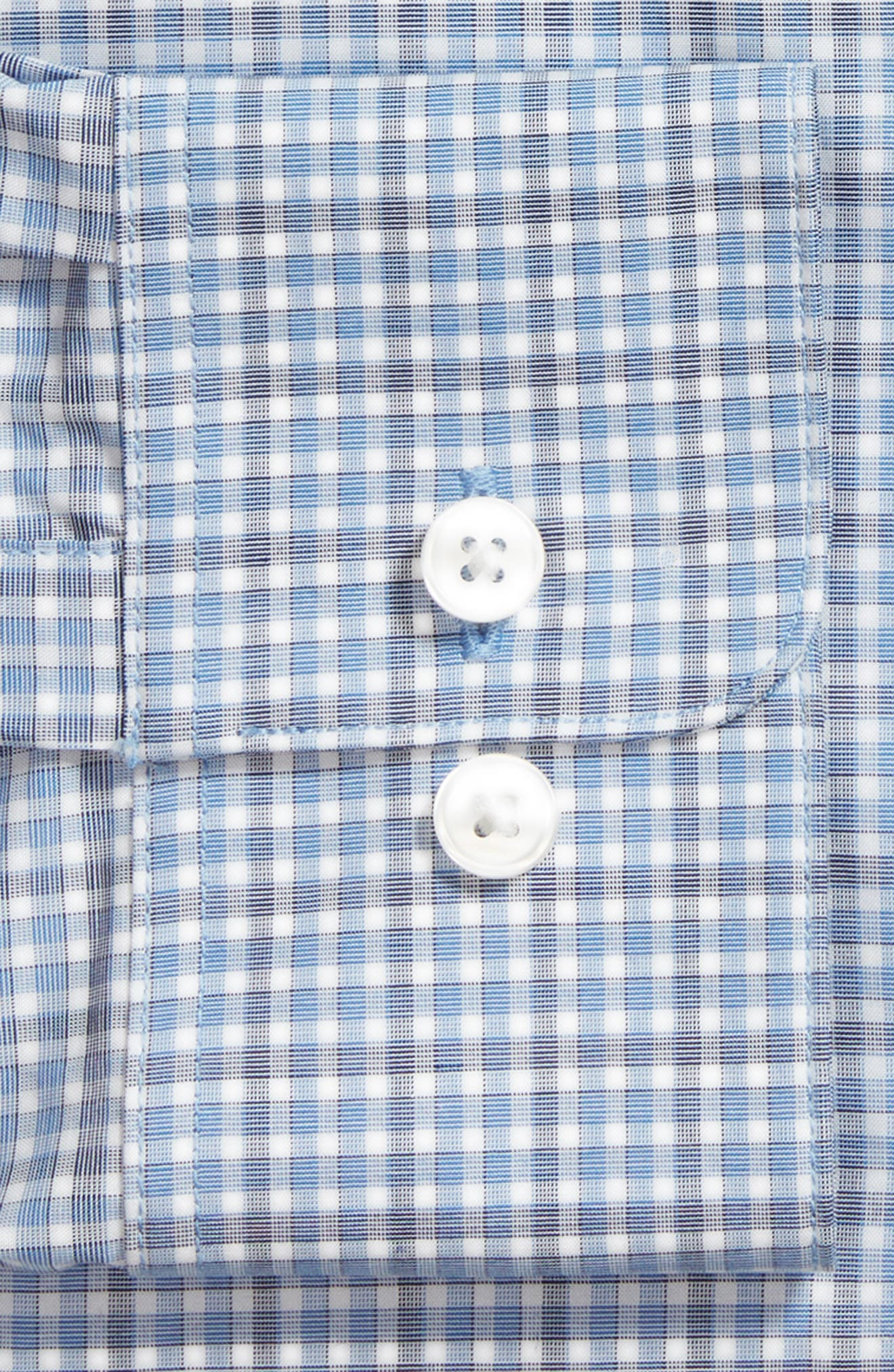 Regular Fit Stretch Check Dress Shirt,                             Alternate thumbnail 5, color,                             Sky