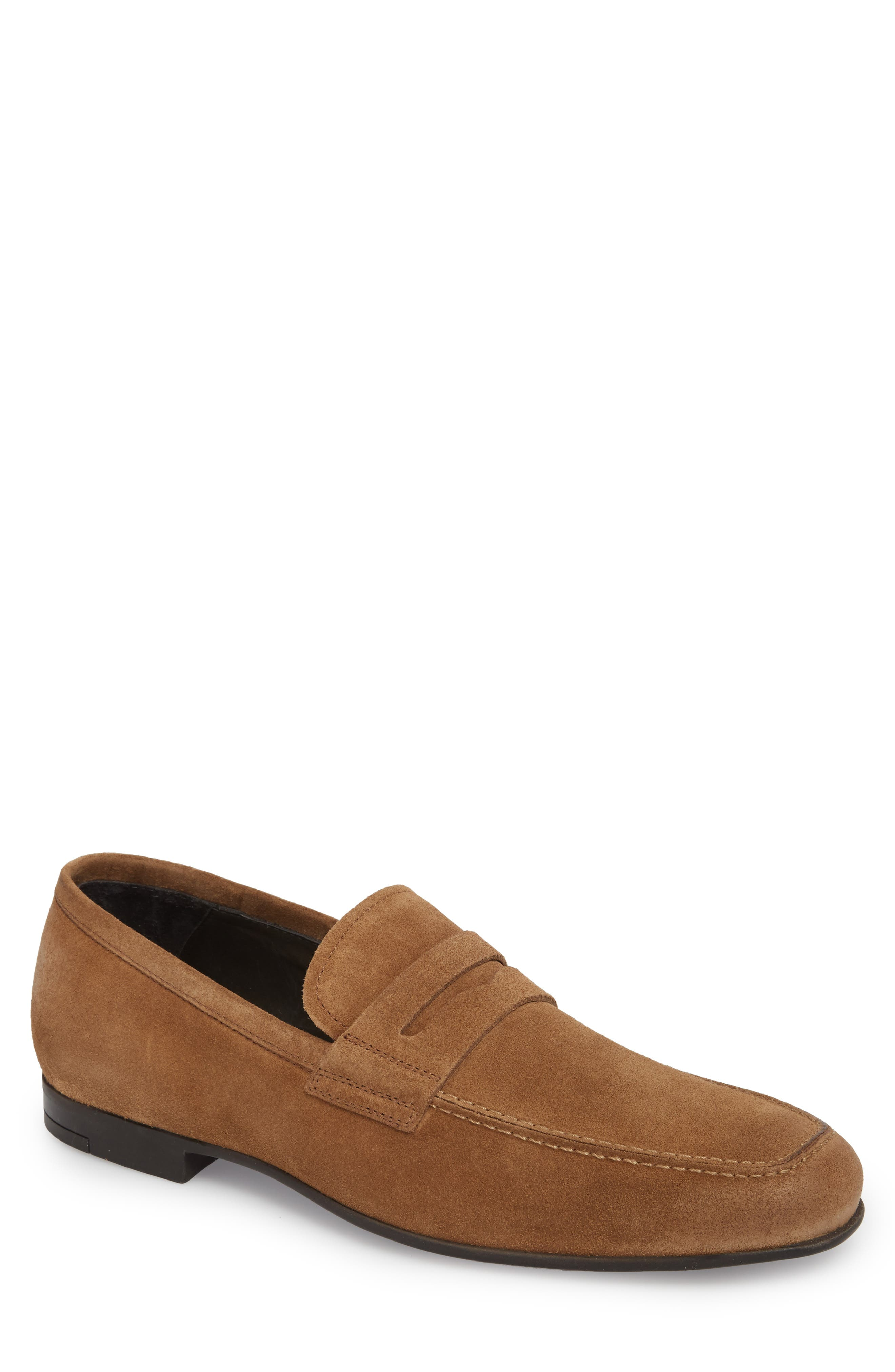 Alek Penny Loafer,                             Main thumbnail 1, color,                             Sigaro Suede