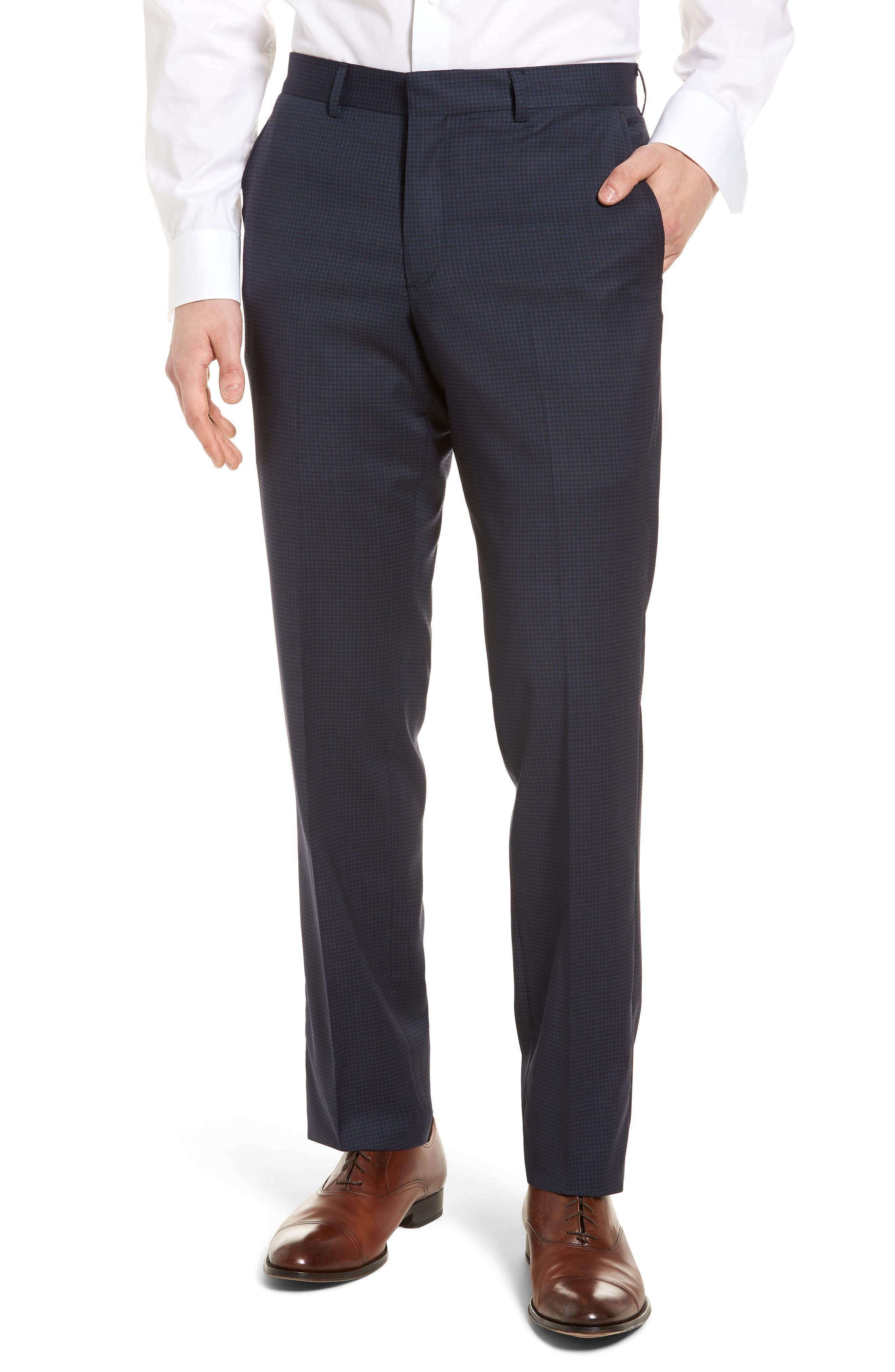 Tech-Smart Check Flat Front Stretch Wool Pants,                         Main,                         color, Navy
