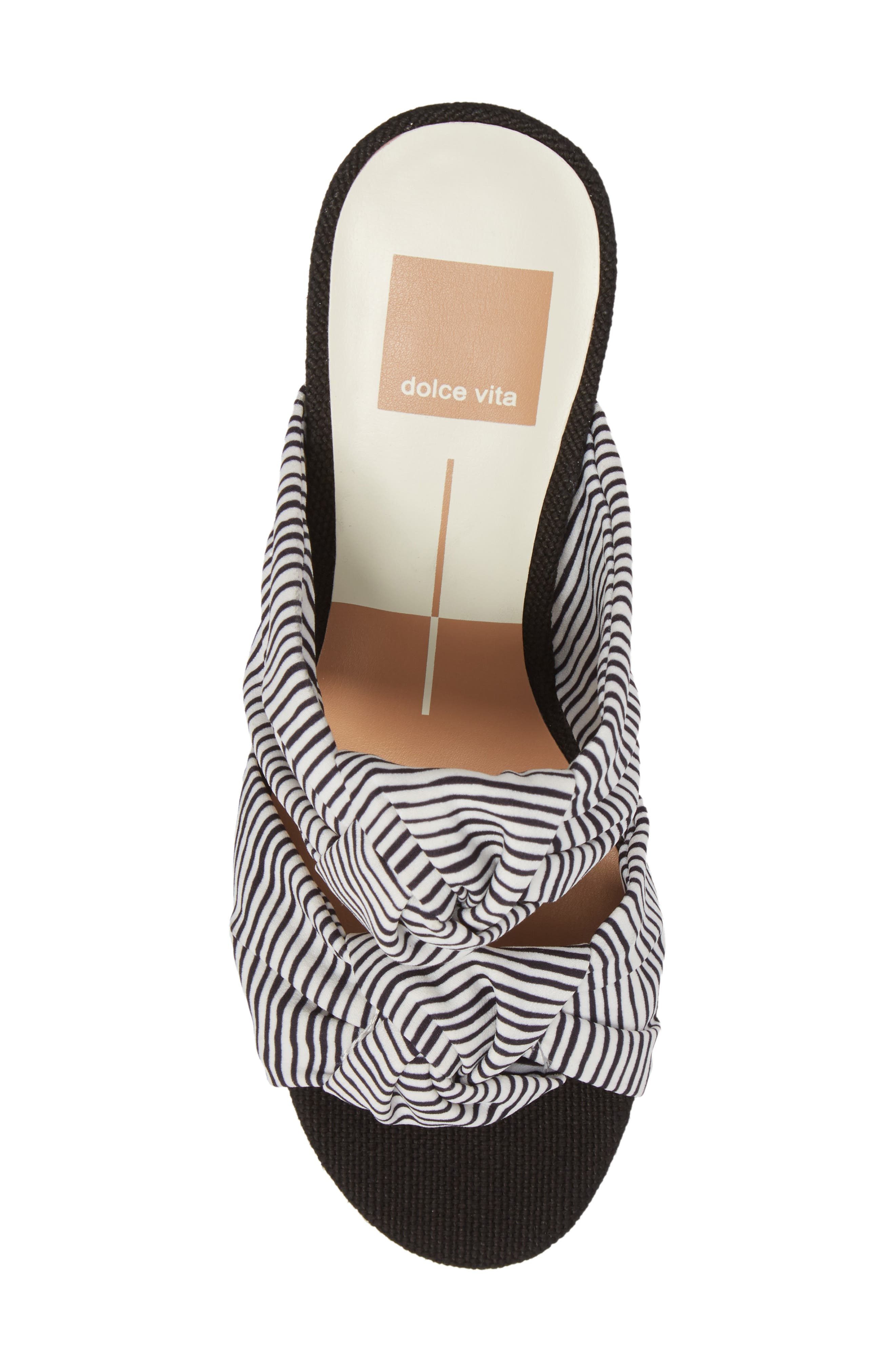Jene Double Knot Sandal,                             Alternate thumbnail 5, color,                             White Stripe