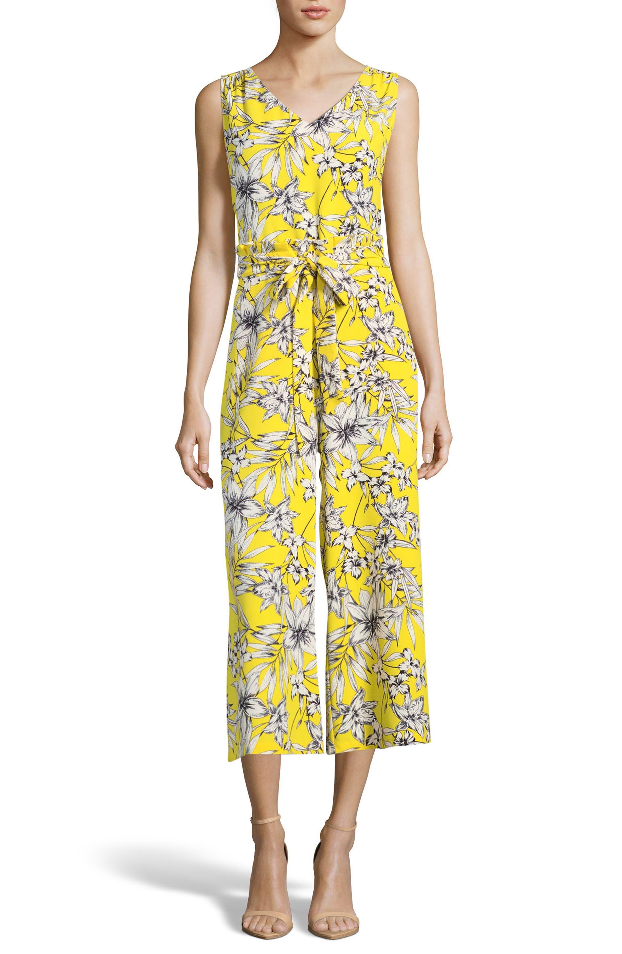 ECI Tropical Print Sleeveless Jumpsuit