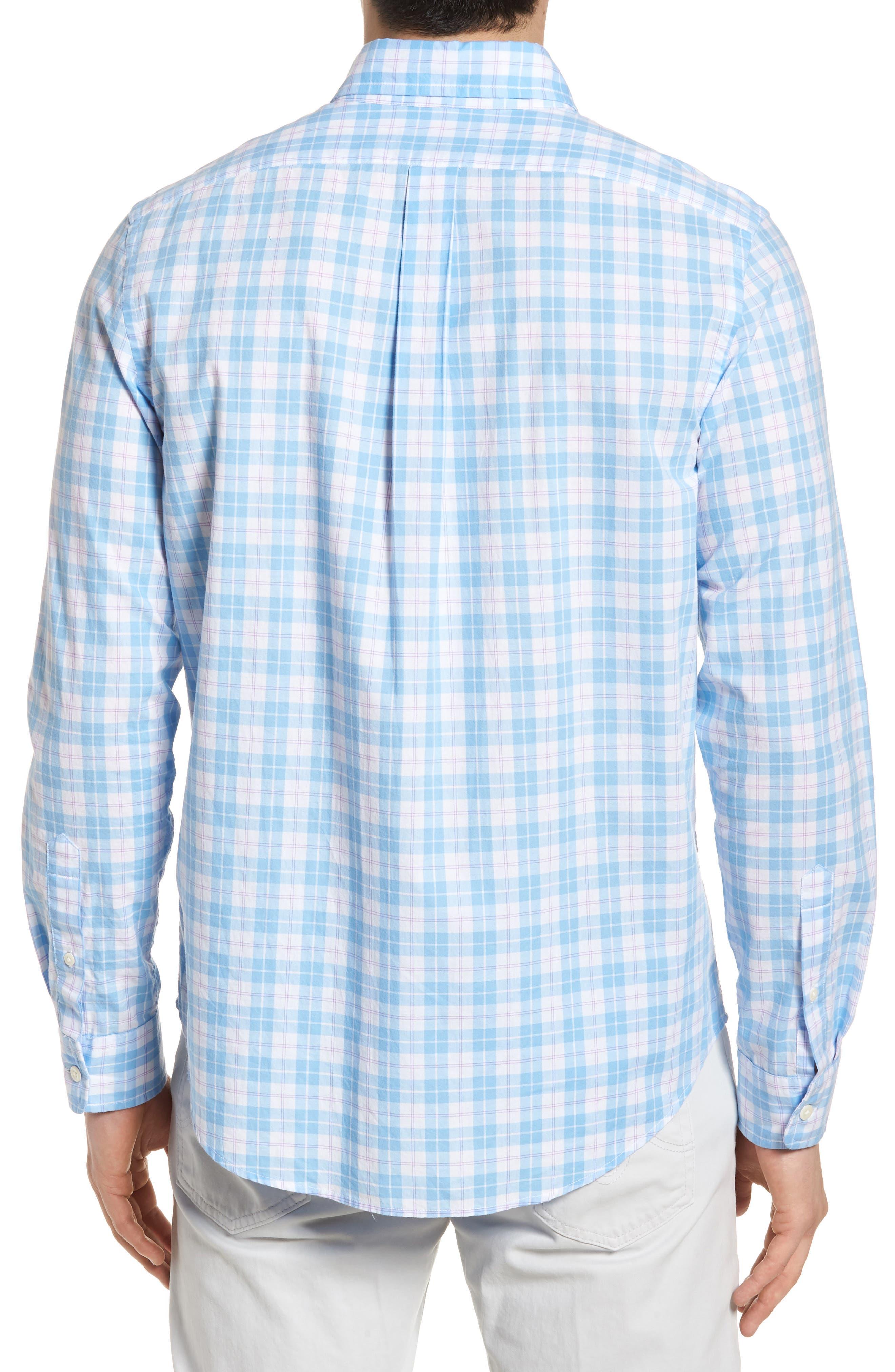 Shallow Sea Slim Fit Plaid Sport Shirt,                             Alternate thumbnail 2, color,                             Ocean Breeze