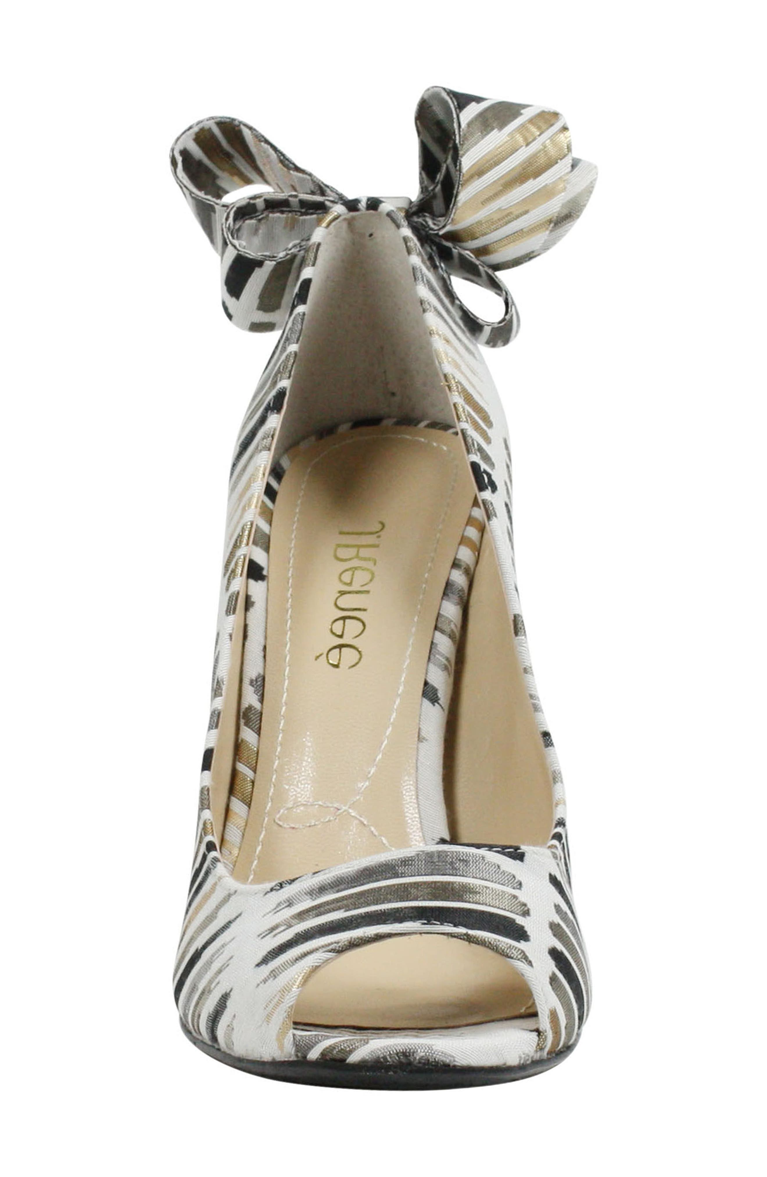 Ellasee Bow Peep Toe Pump,                             Alternate thumbnail 4, color,                             Cream/ Black/ Gold Fabric