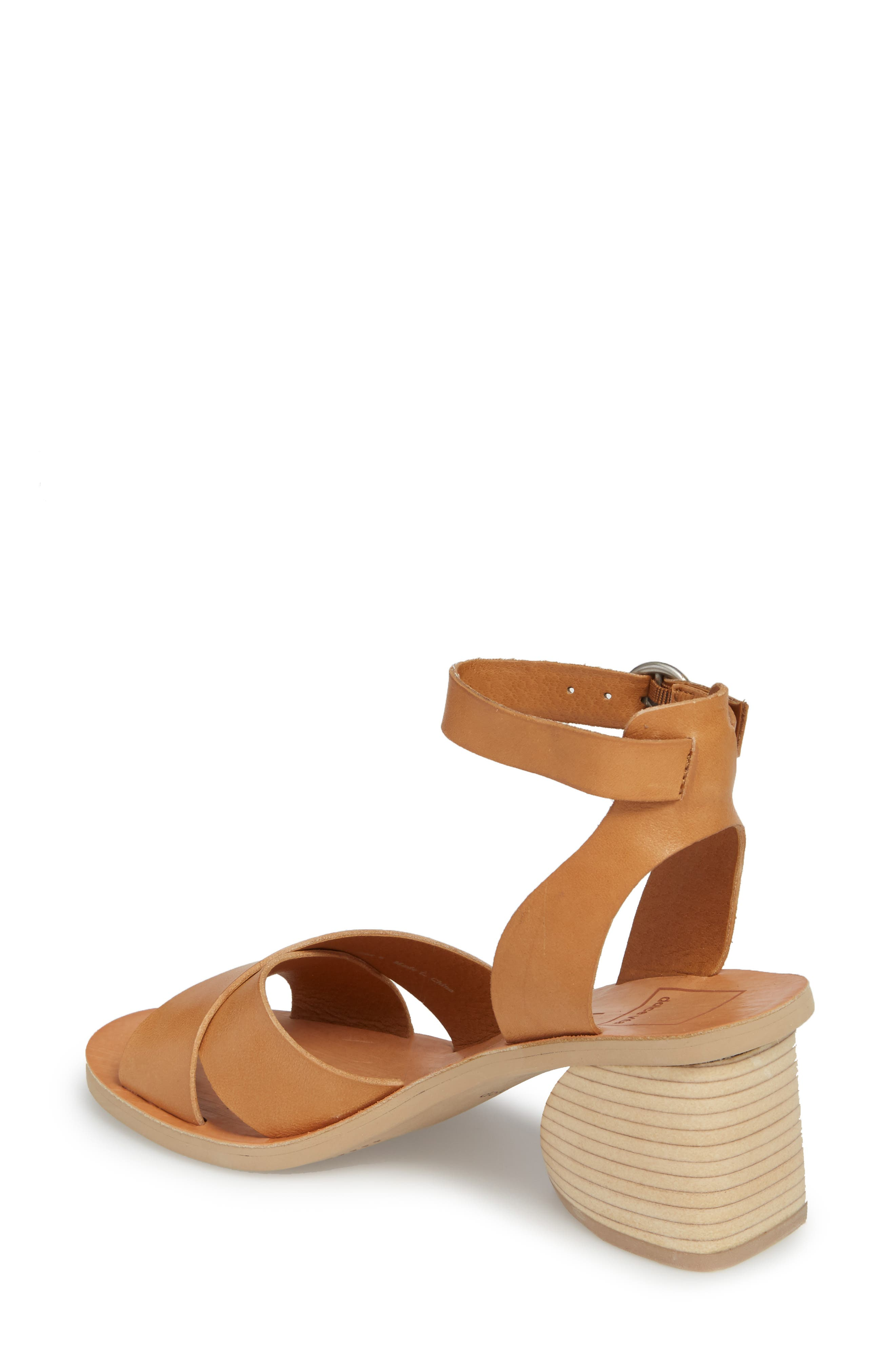 Roman Flared Heel Sandal,                             Alternate thumbnail 2, color,                             Caramel Leather