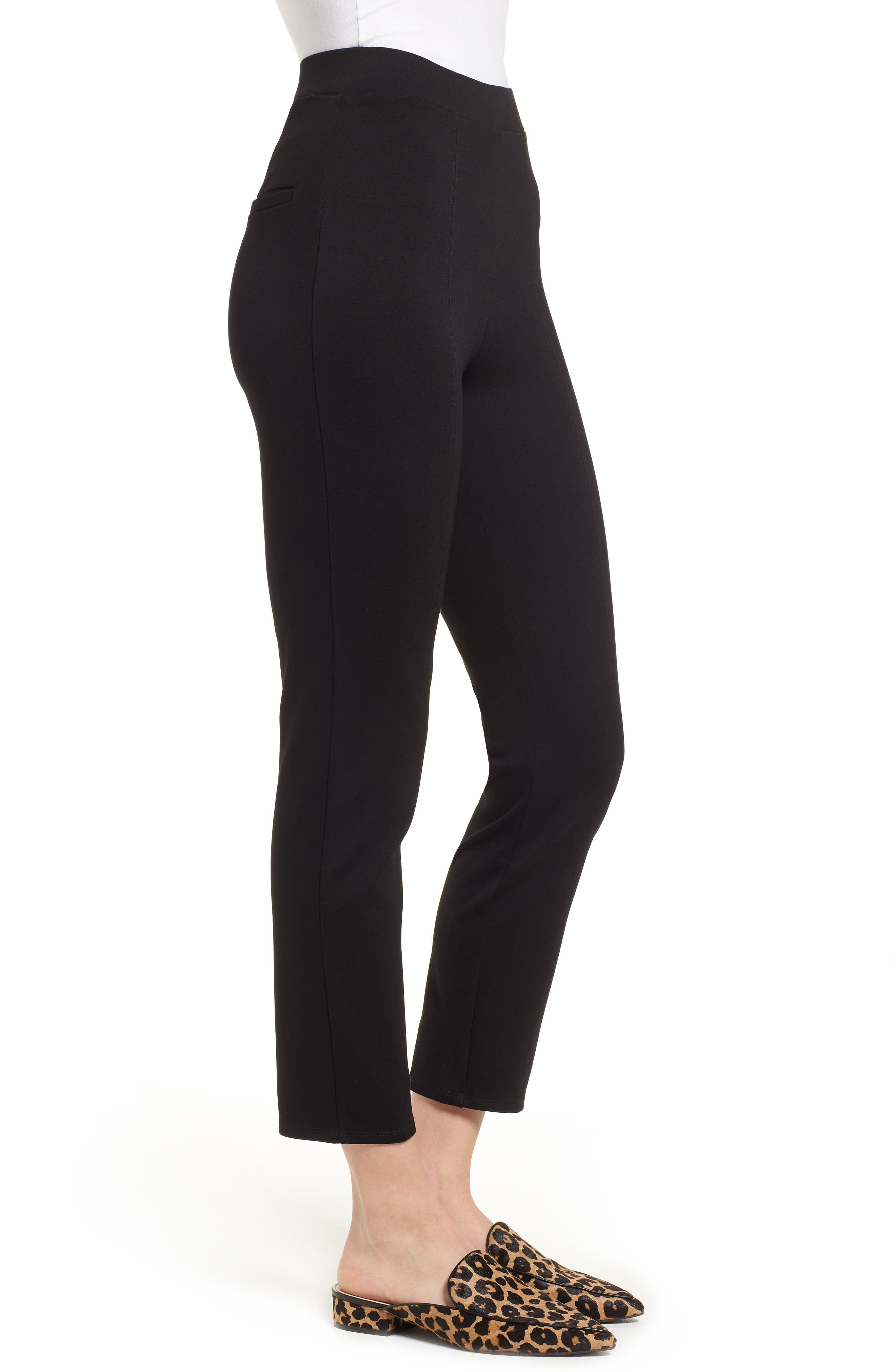 Macklin Ponte Leggings,                             Alternate thumbnail 3, color,                             Black