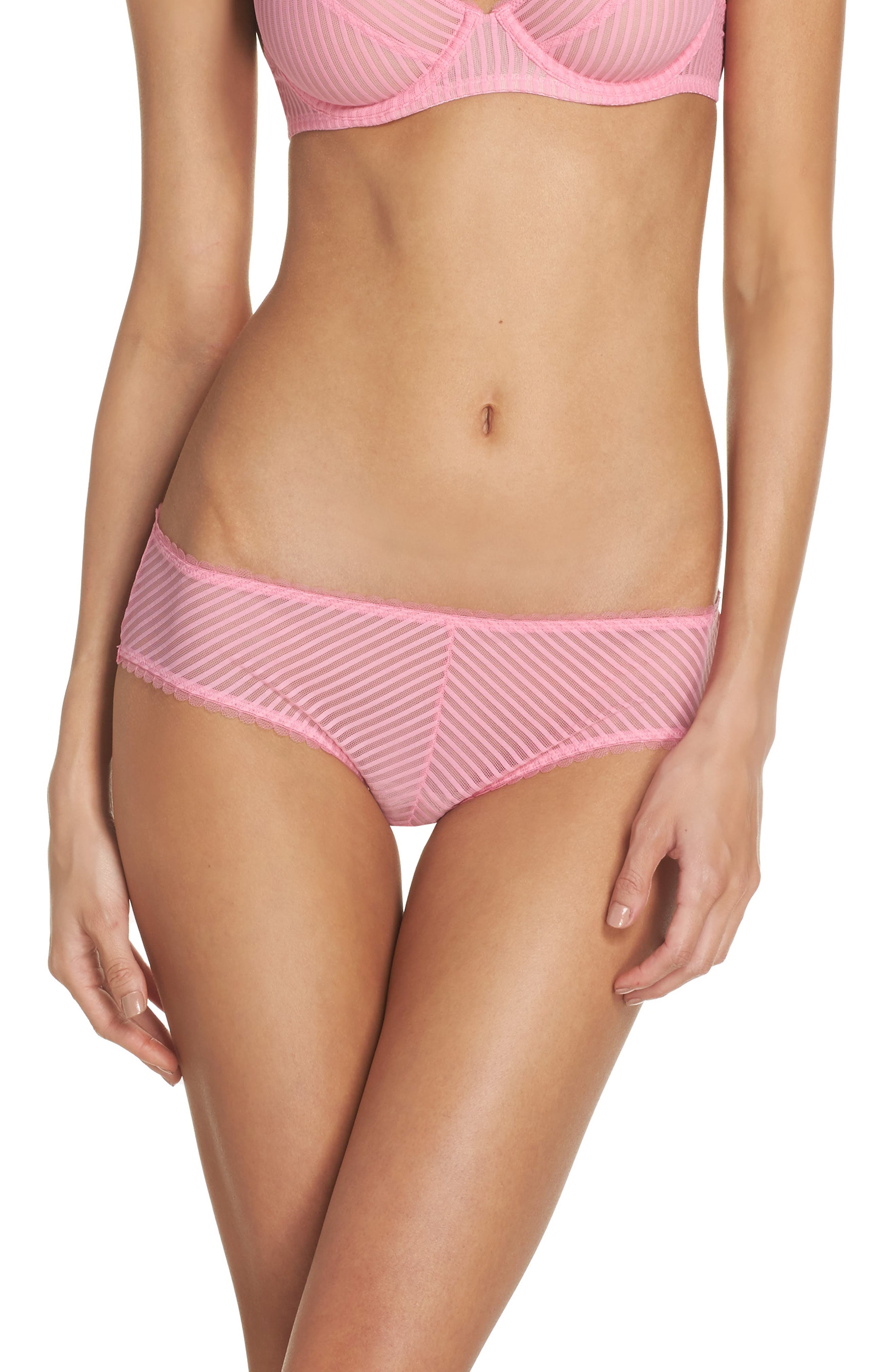 Shiny Stripe Hipster Panties,                         Main,                         color, Bubblegum Pink