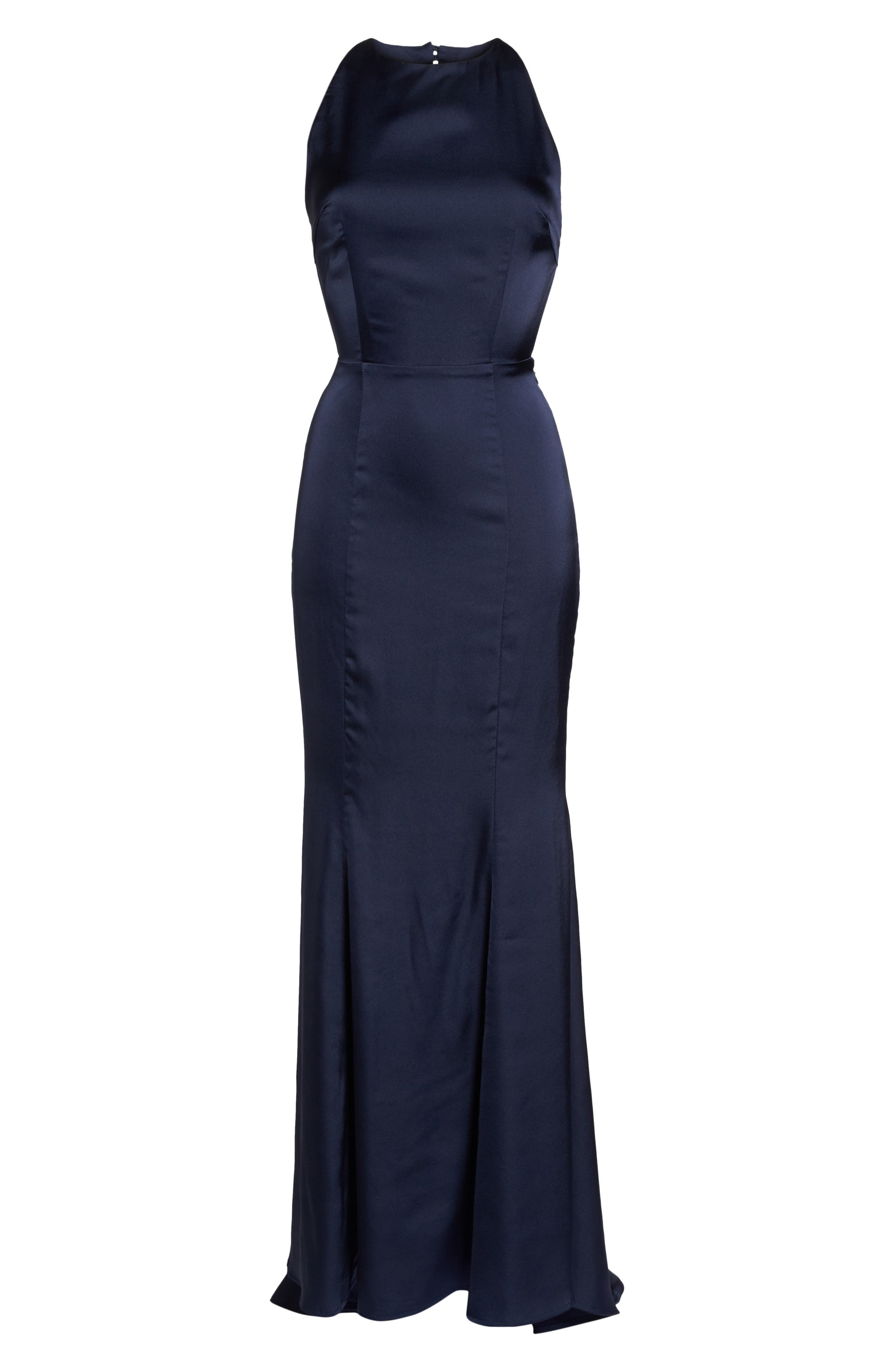 Blanche Open Back Gown,                             Alternate thumbnail 6, color,                             Navy