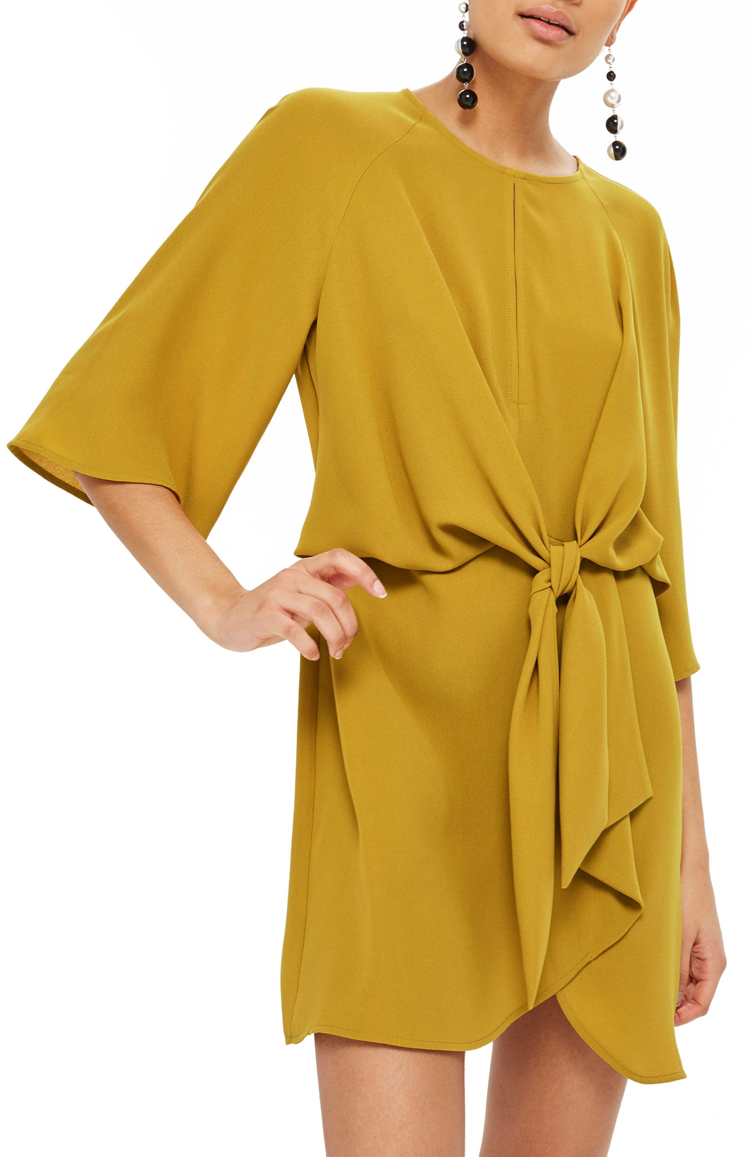Tie Front Minidress,                         Main,                         color, Mustard
