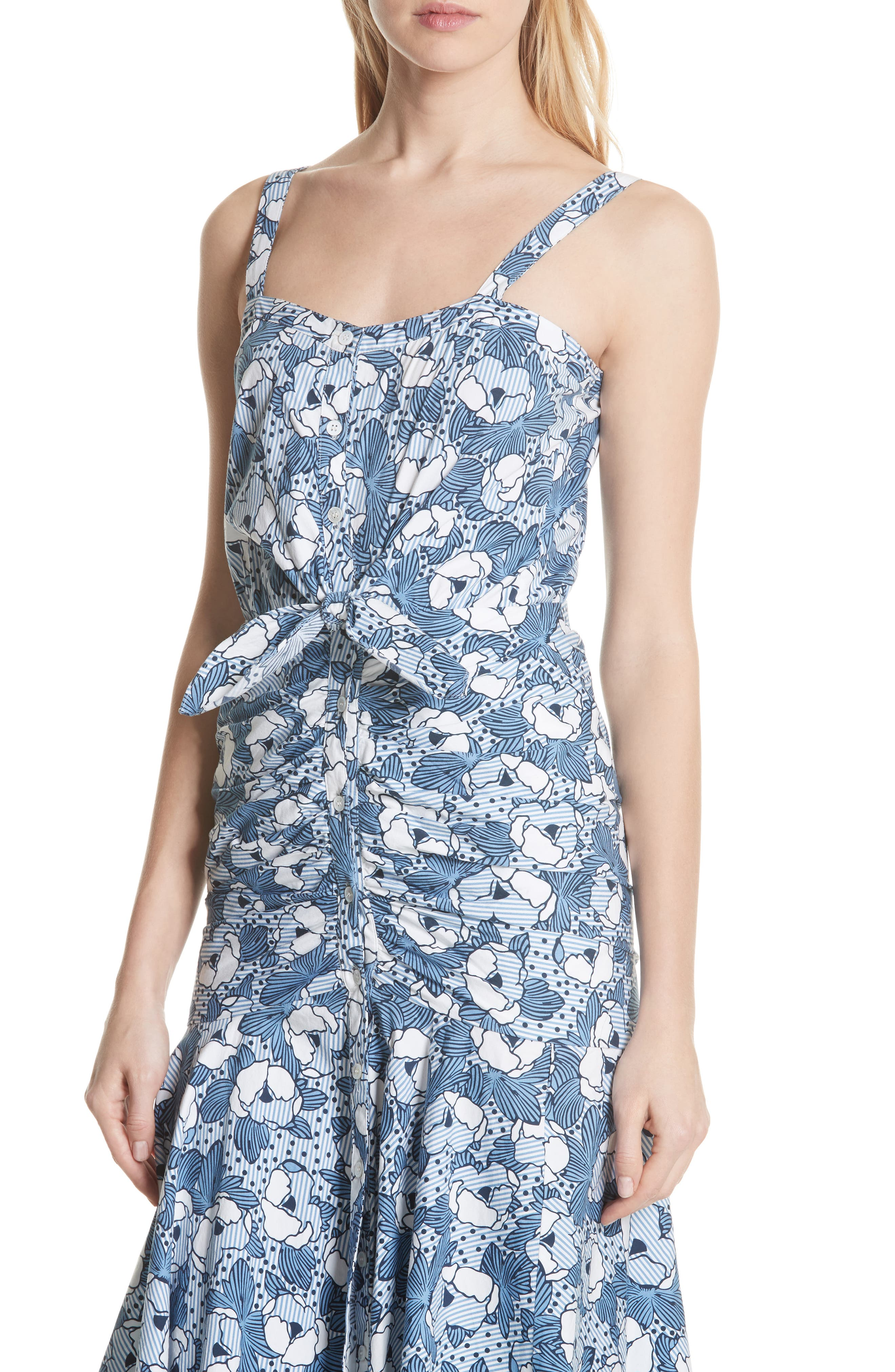 Marena Ruched Waist Floral Midi Dress,                             Alternate thumbnail 4, color,                             Blue/ White