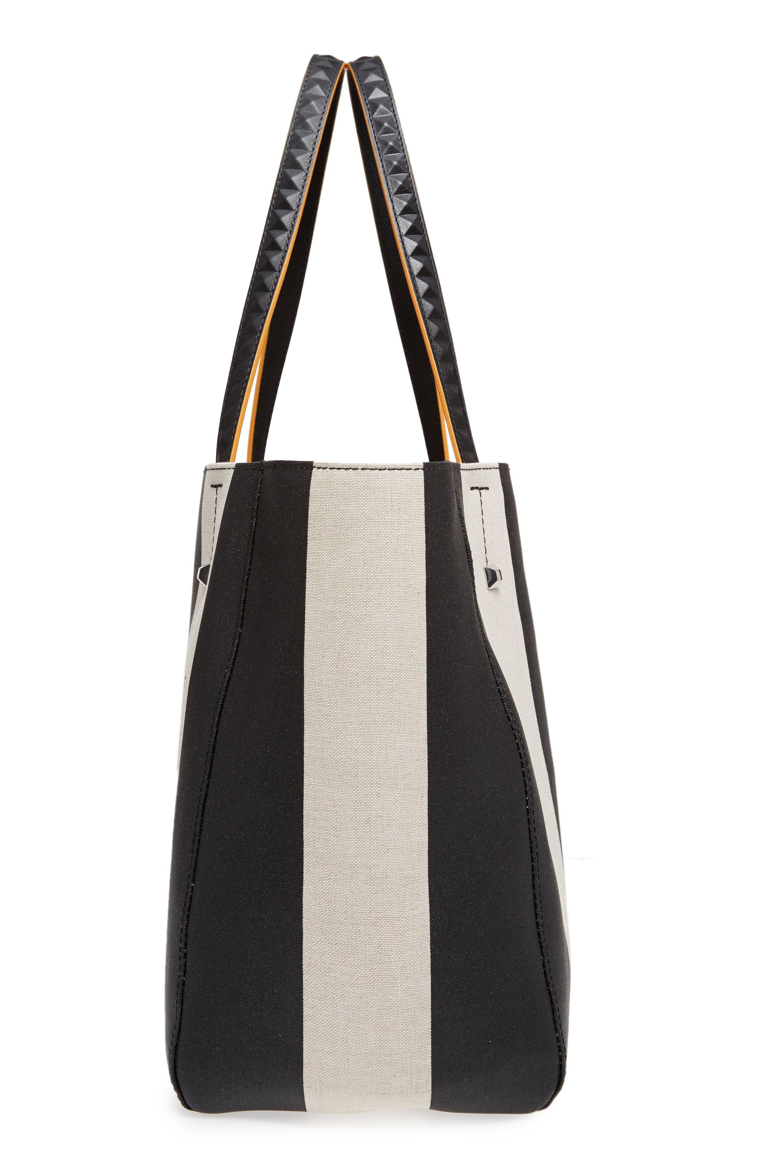 Ilse Medium East/West Stripe Canvas Shopper,                             Alternate thumbnail 5, color,                             Black