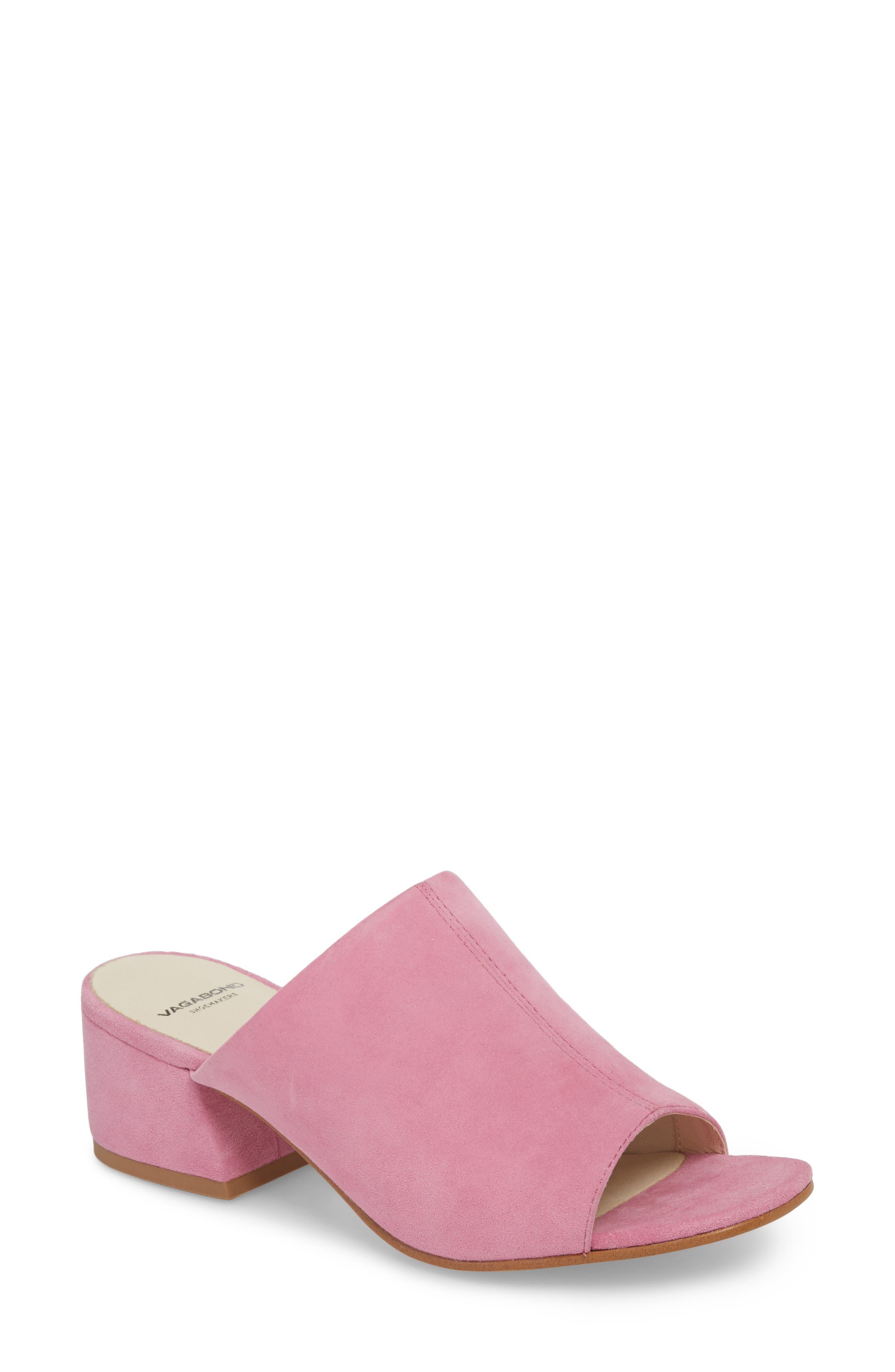 Saide Slide Sandal,                             Main thumbnail 1, color,                             Pink Suede