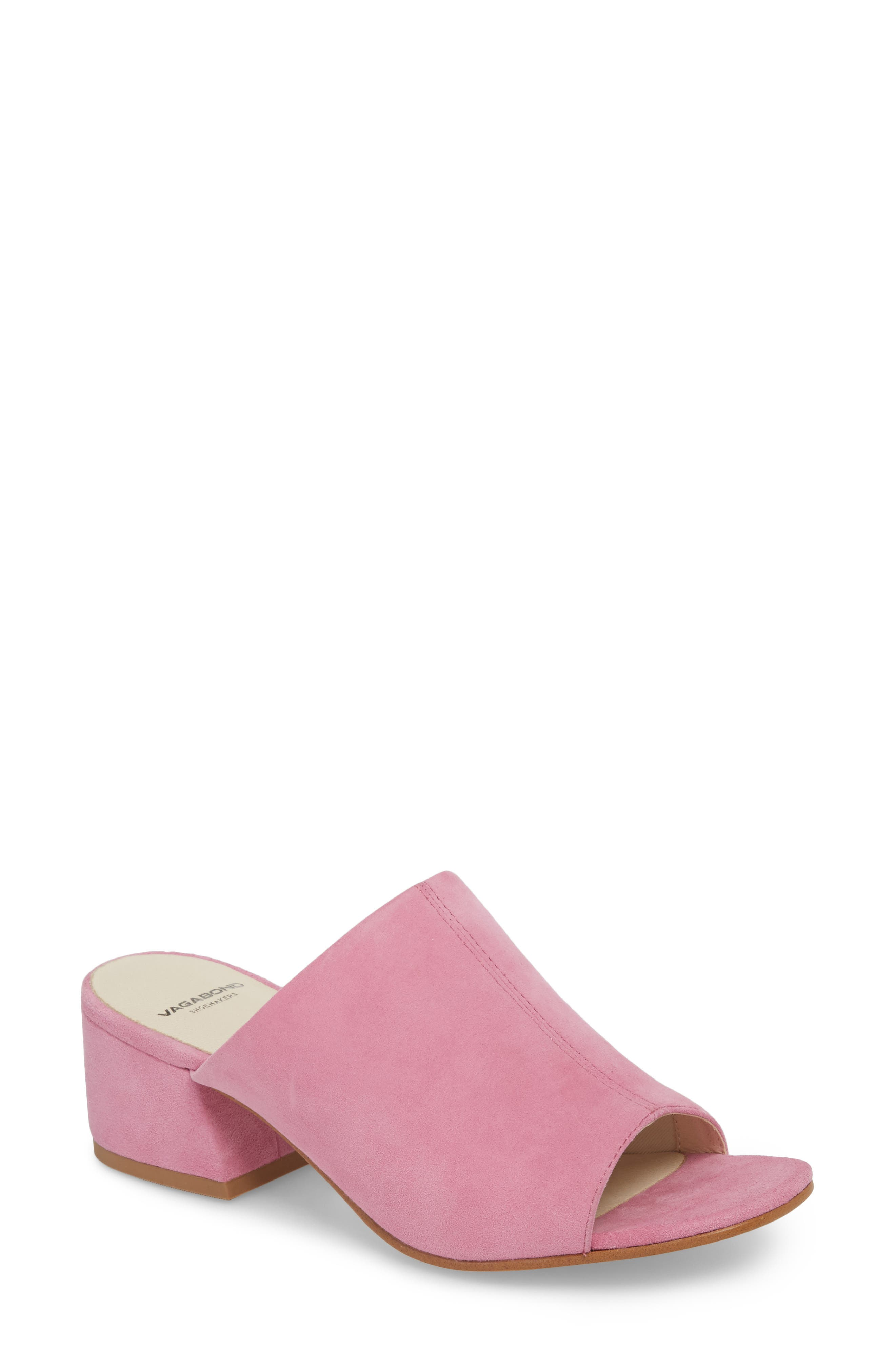 Saide Slide Sandal,                         Main,                         color, Pink Suede
