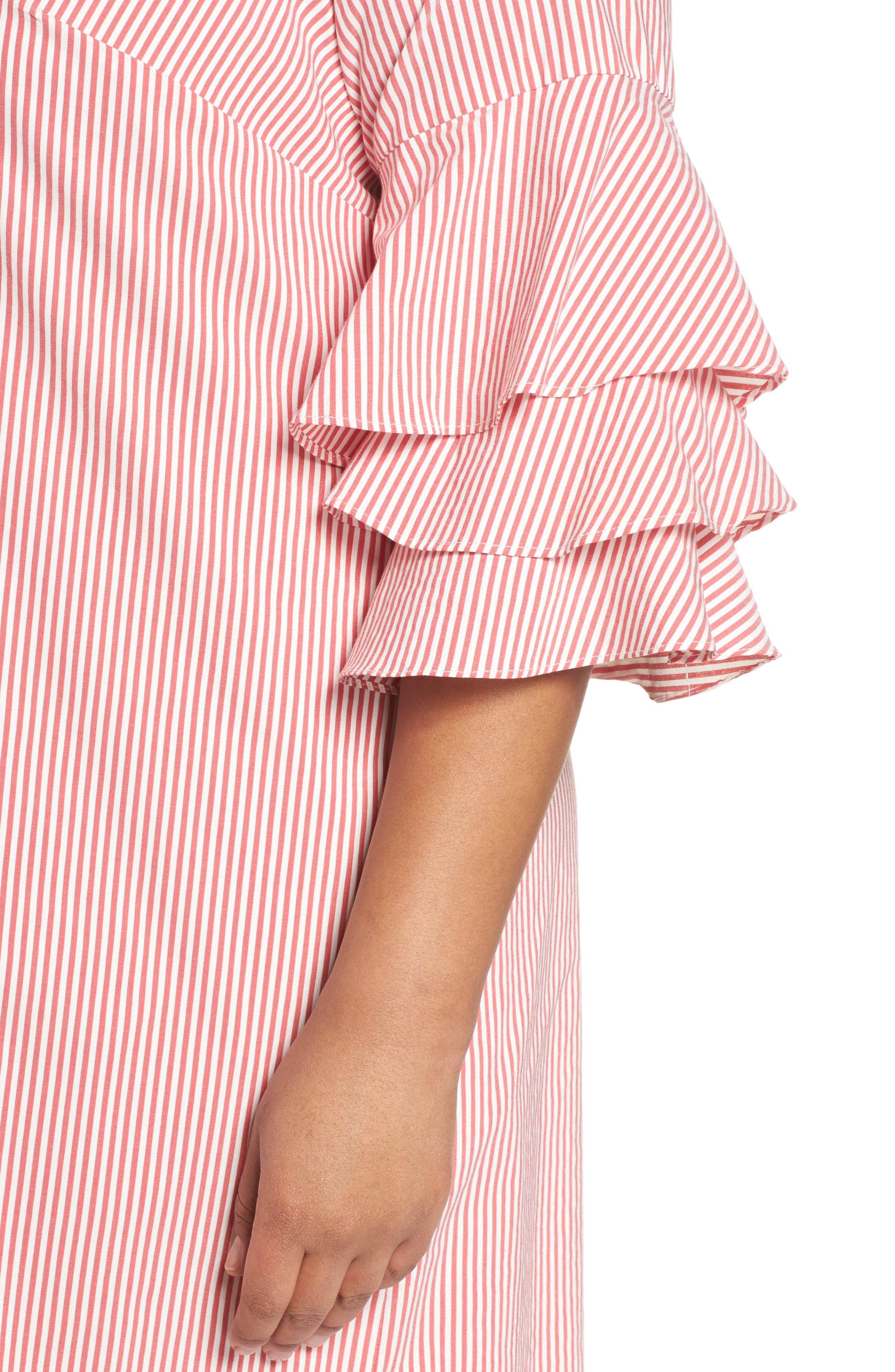 Ruffle Sleeve Stripe Shift Dress,                             Alternate thumbnail 4, color,                             Red/ White