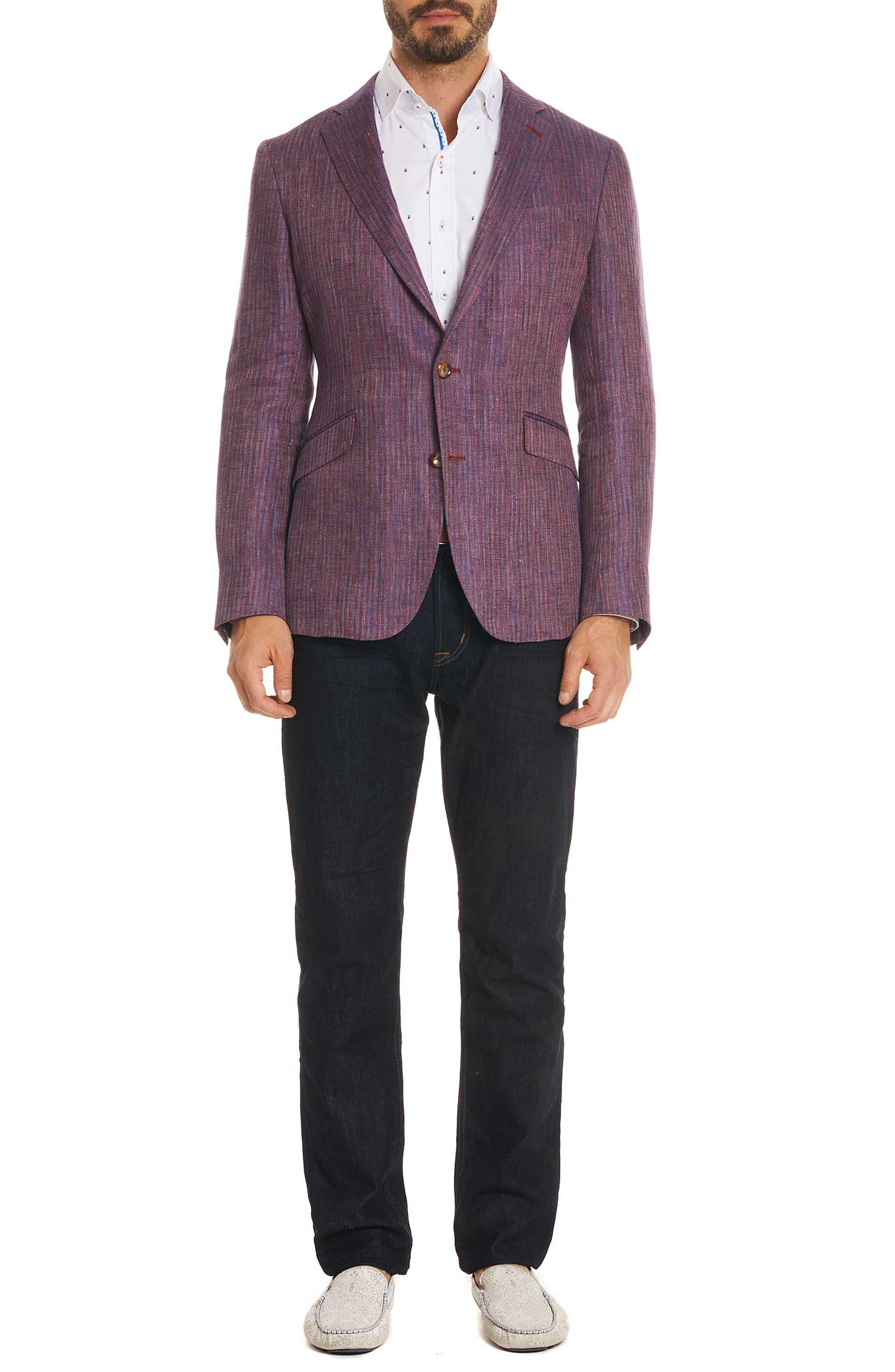 Corbett Tailored Fit Stripe Linen Sport Coat,                             Alternate thumbnail 5, color,                             Berry