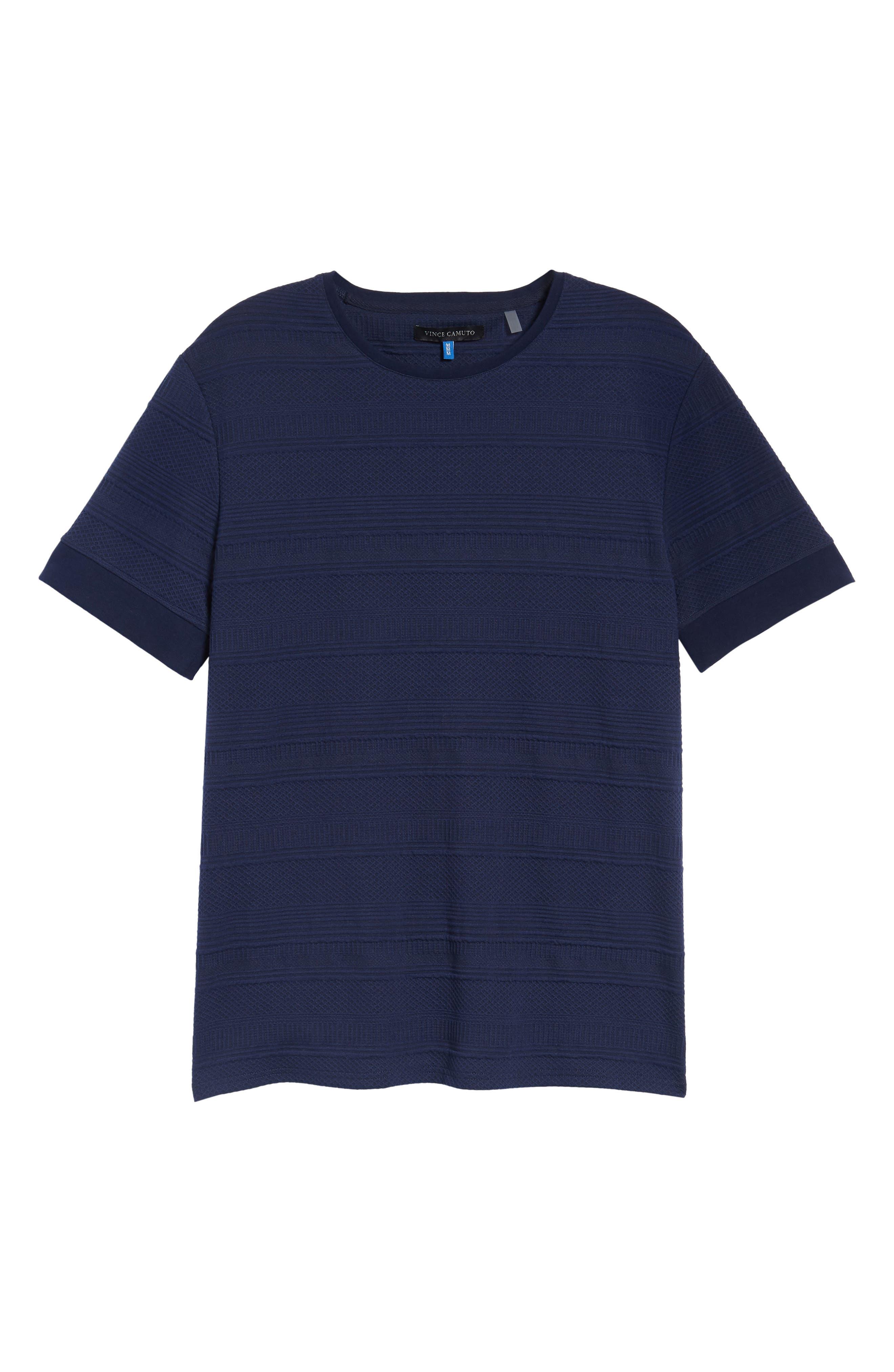 Banded Cuff Crewneck T-Shirt,                             Alternate thumbnail 6, color,                             Navy/Black