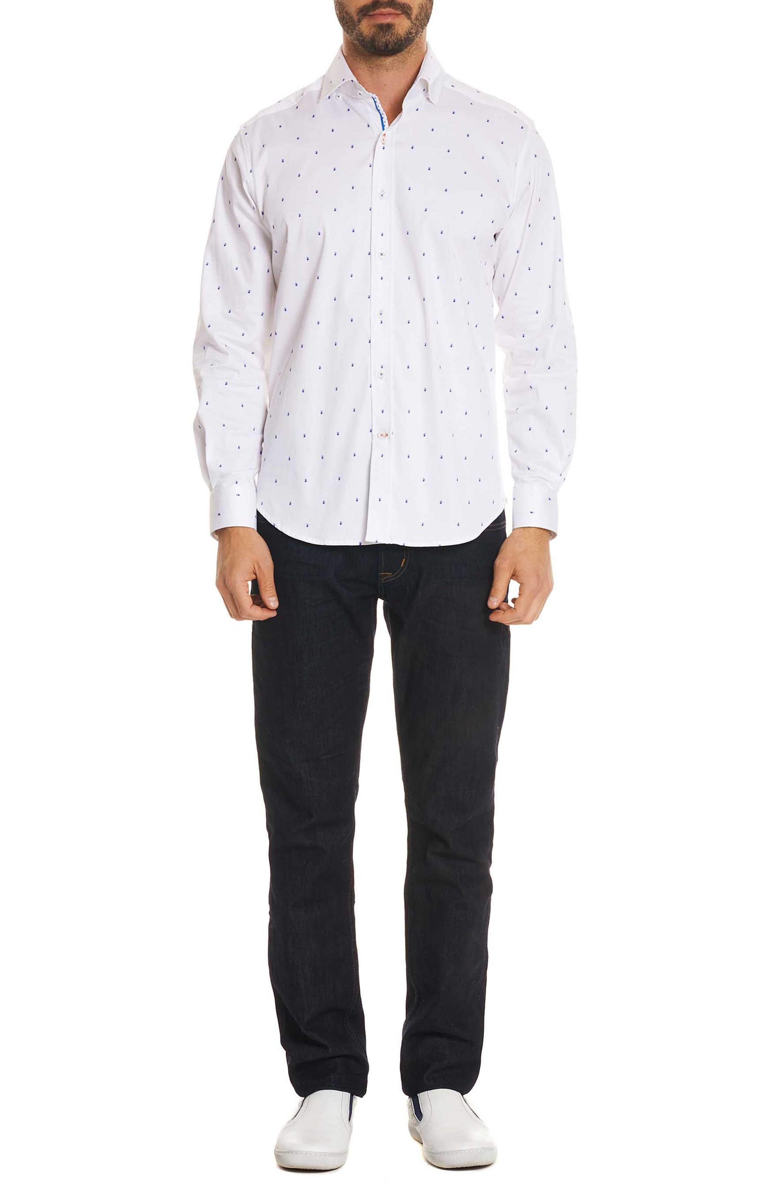 Mack Tailored Fit Sport Shirt,                             Alternate thumbnail 6, color,                             White